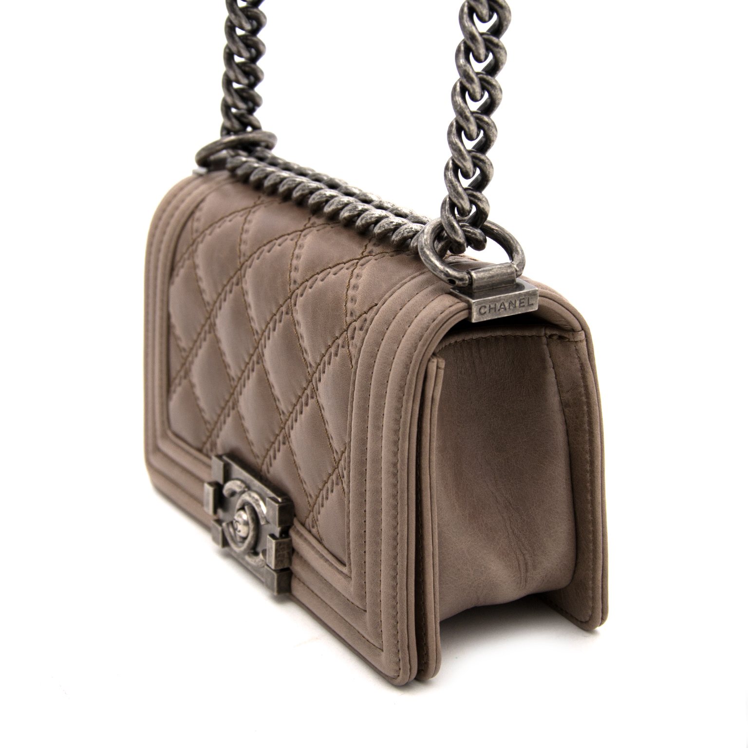 shop real real 100% authentic luxury chaneltaupe  small boy bag webshop labellov.com Antwerp, designer, best price
