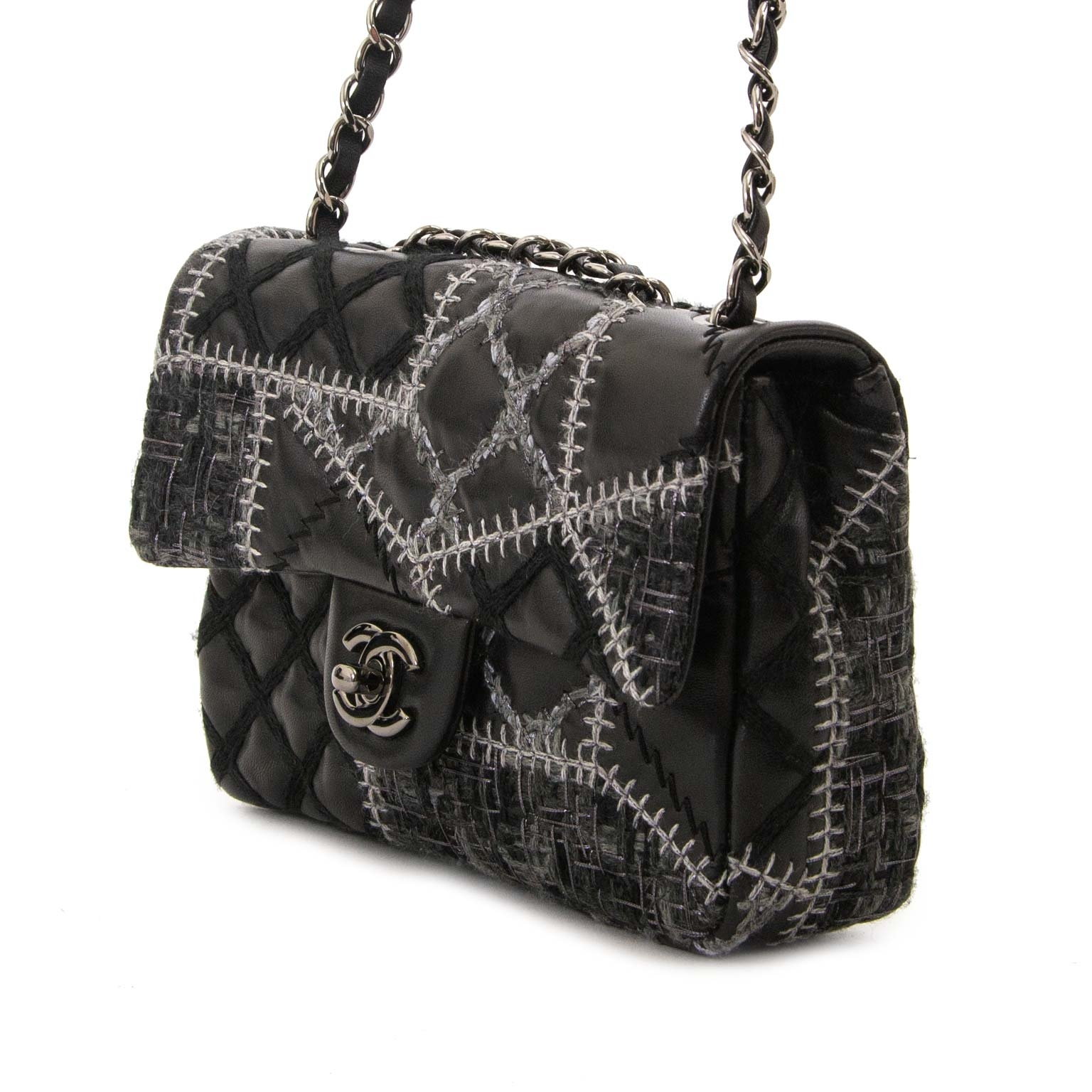 chanel quilted tweed leather patchwork stitch mini flap bag now for sale at labellov vintage fashion webshop belgium
