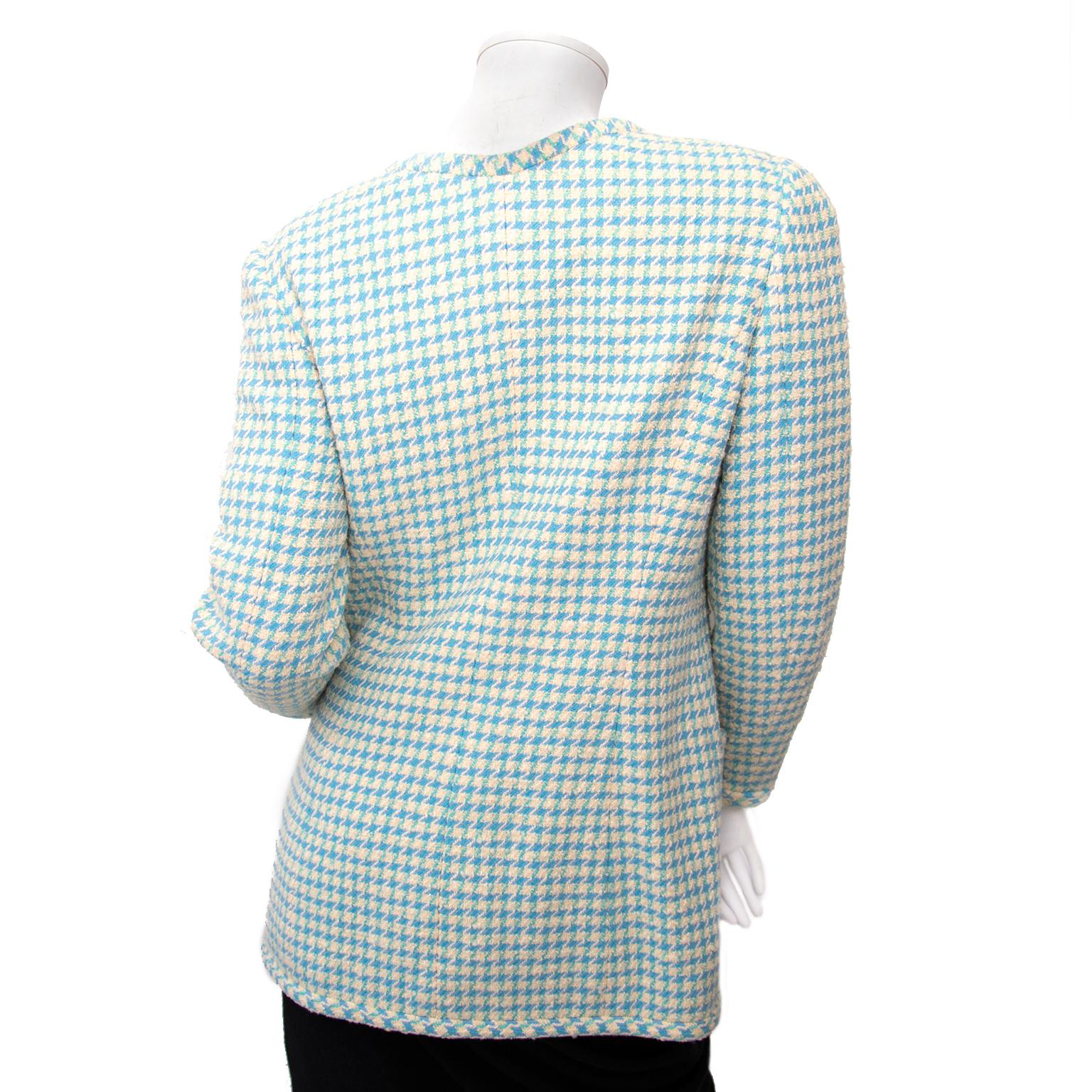 Acheter secur en ligne pour le meilleur prix Chanel Baby Blue Pied-de-Poule Vest - Size 38