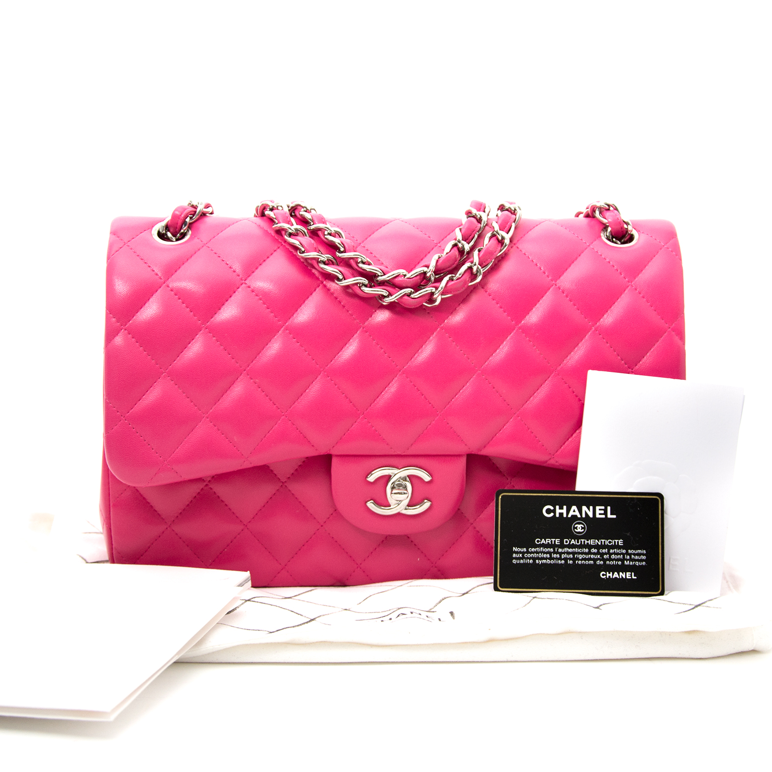 shop veilig online worldwide shipping best price rare limited secondhand sold out limited 2014 collection Chanel Metallic Patent Fuchsia New Medium Boy Bag  at the best price