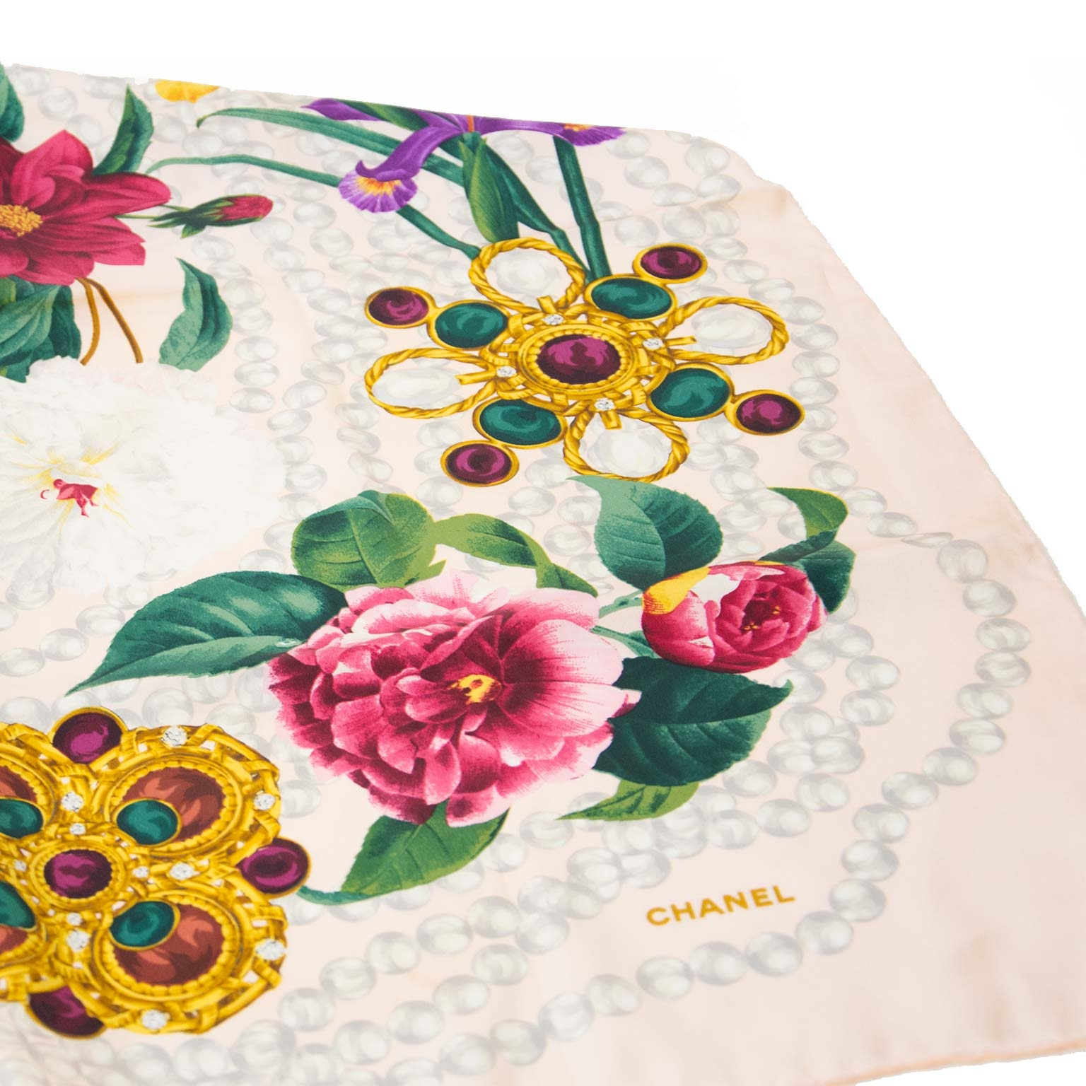 Chanel Pink Flower Scarf now for sale at labellov vintage fashion webshop belgium