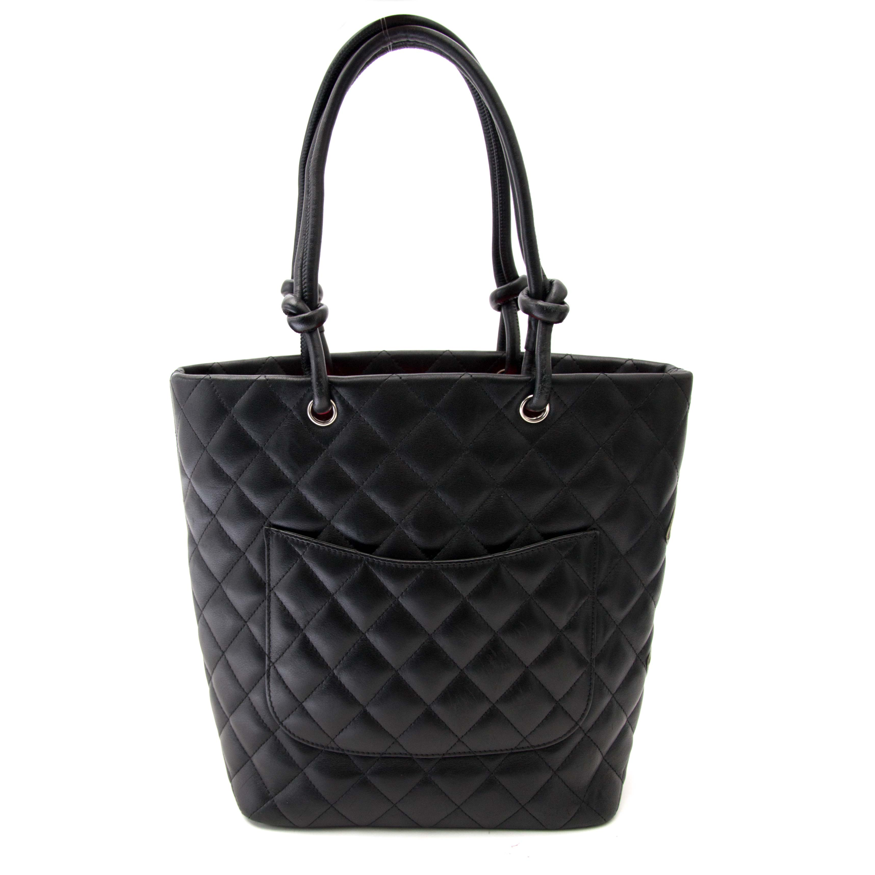 shop veilig online aan de beste prijs  Chanel Cambon Quilted Black And White Small Tote