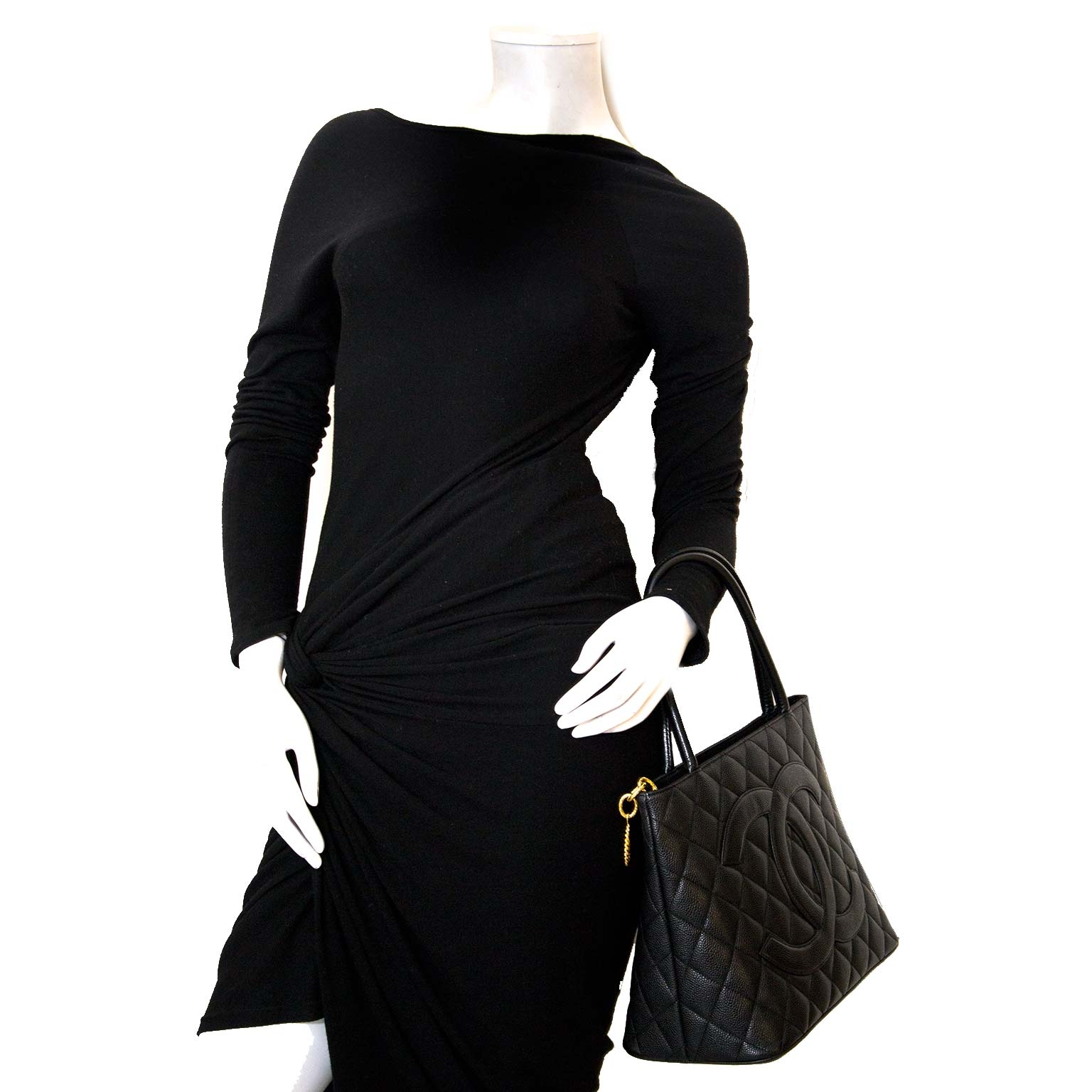 Chanel grand cc classic black shopper now for sale at labellov vintage fashion webshop belgium