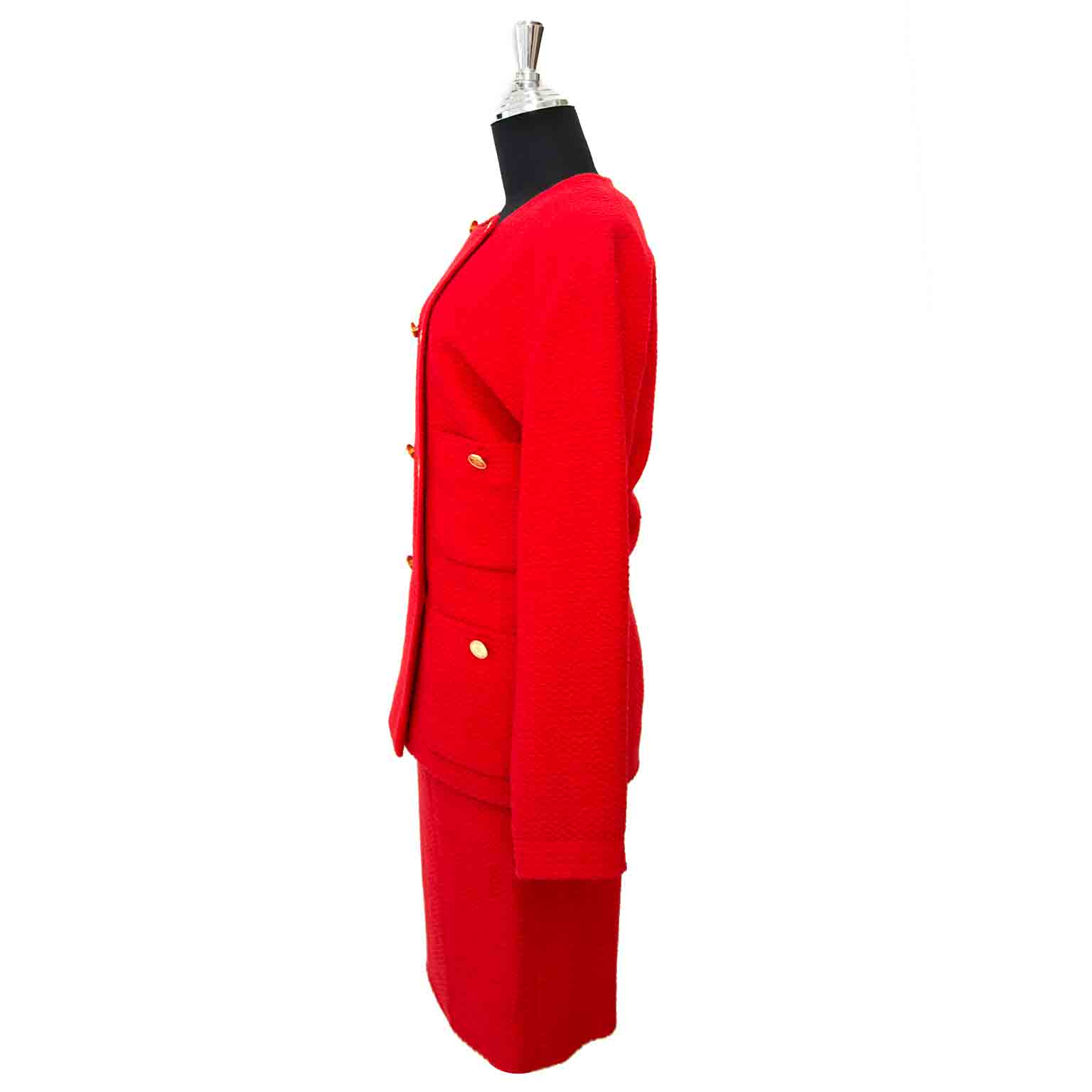 Looking for a Chanel Red Bouclé Tailleur Set?