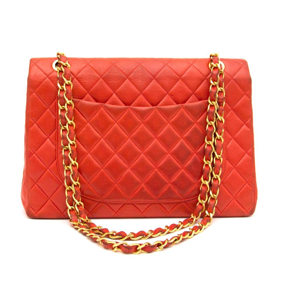 47ecdf8fddd875 ... acheter en ligne seocnde main Chanel Coral Red Maxi Single Flap Bag  vintage vestaire collective