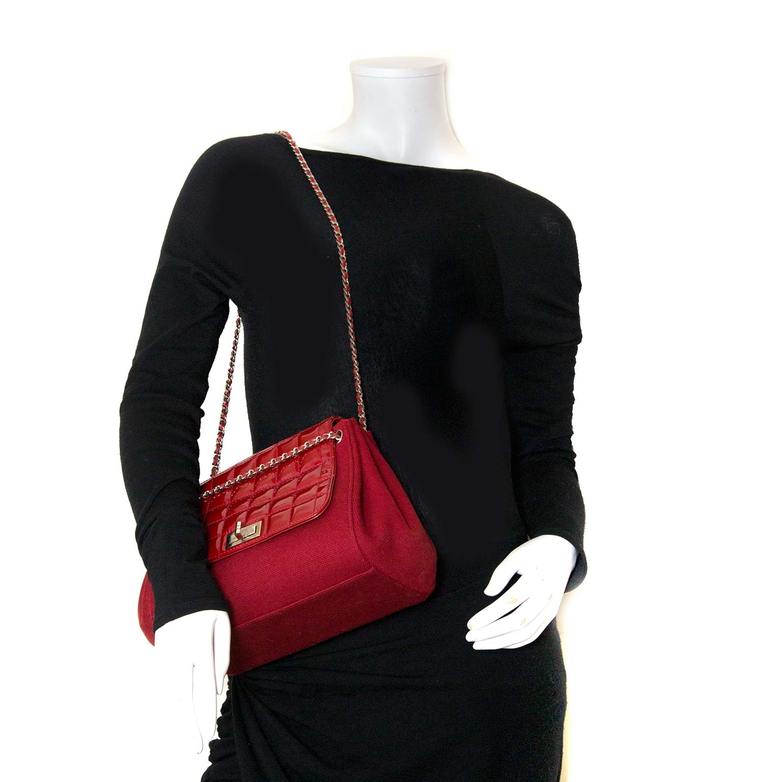 chanel patent quilted and fabric accordion shoulder bag now for sale at labellov vintage fashion webshop belgium