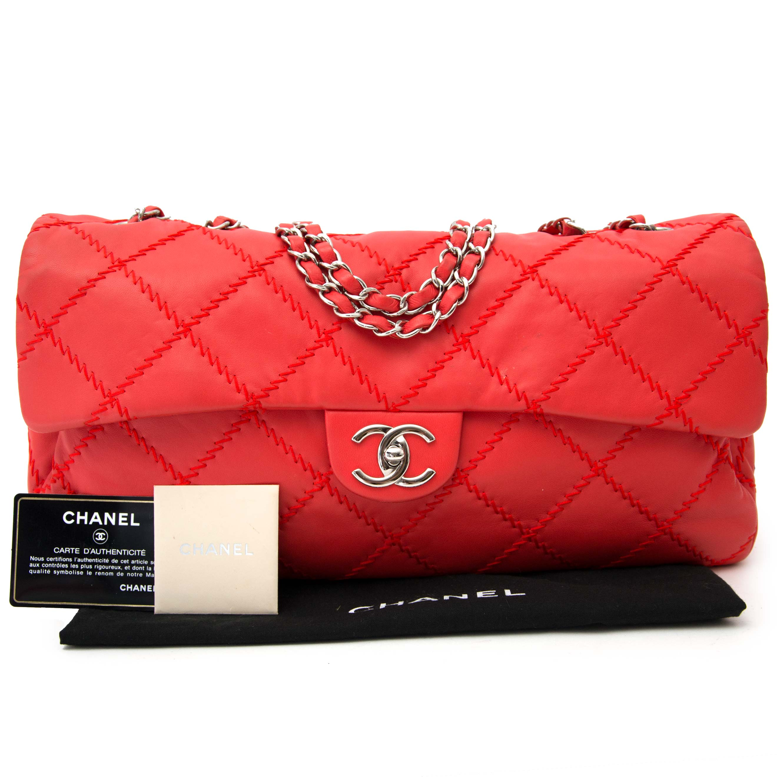 looking for a secondhand Chanel Vibrant Red East West Ultra Stitch Flap Bag?