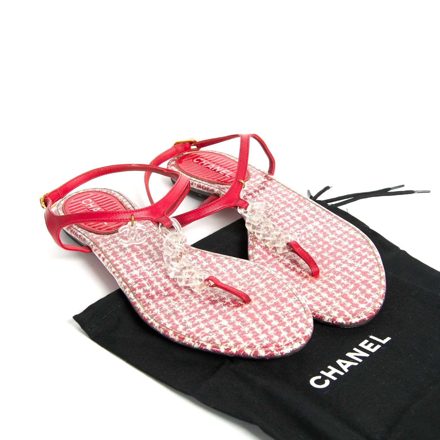 chanel pvc red tweed cc thong sandals now for sale at labellov vintage fashion webshop belgium