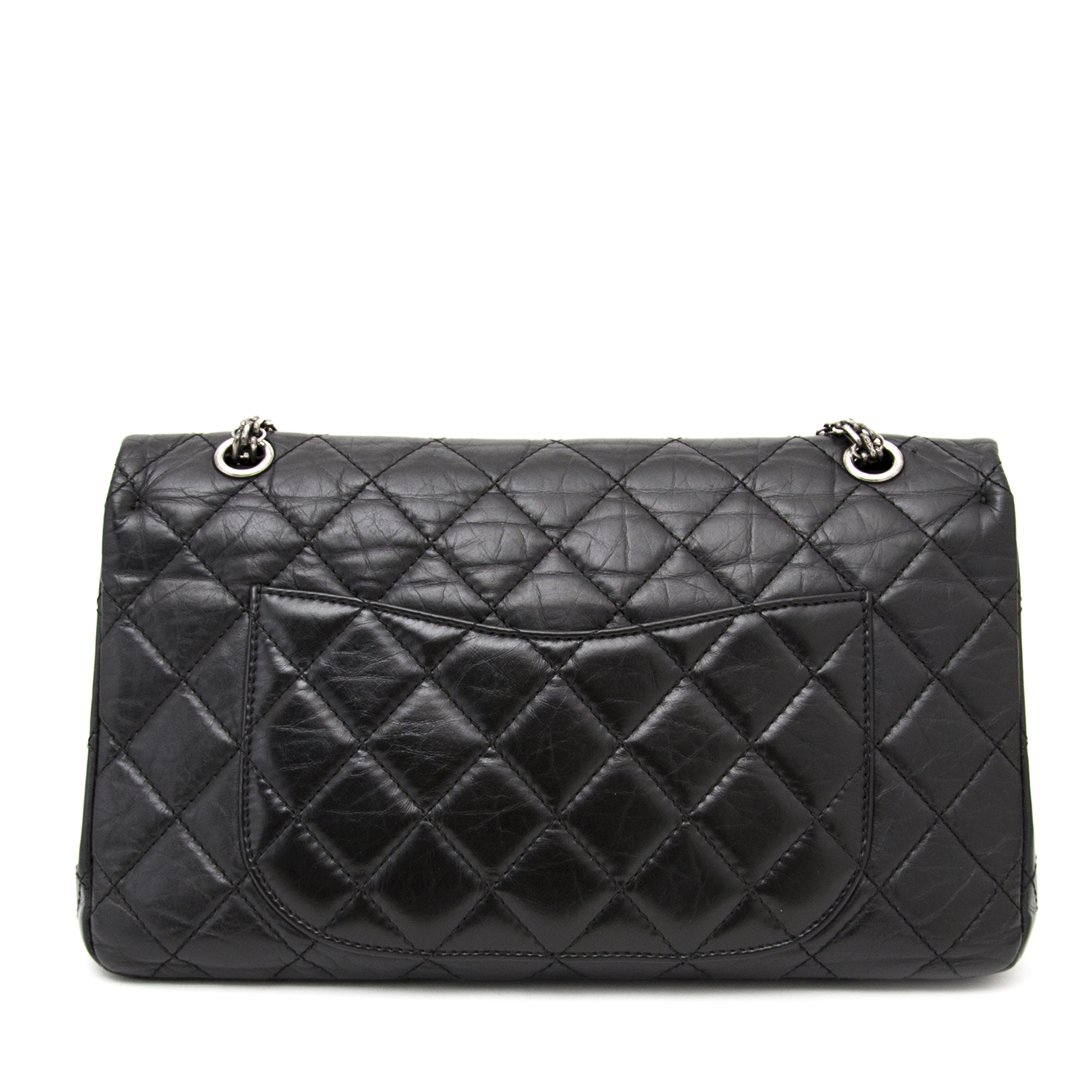 CHANEL Black Aged Calf 2.55 Reissue 227 in pristine condition available with worldwide shipping