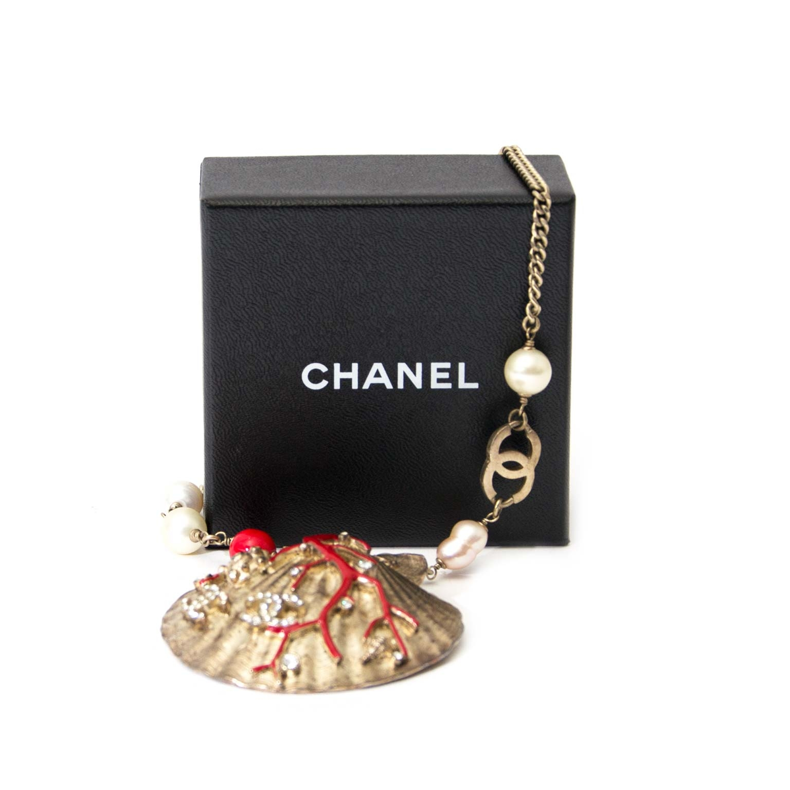 Chanel Coral Gold Pearl Shell Necklace authenitc