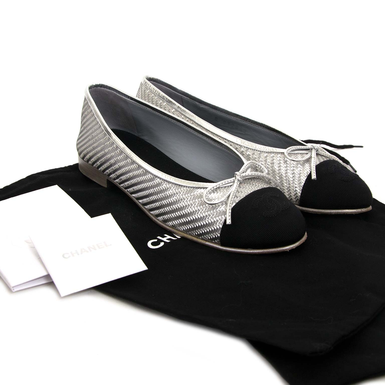 chanel silver ballerina now for sale at labellov vintage fashion webshop belgium