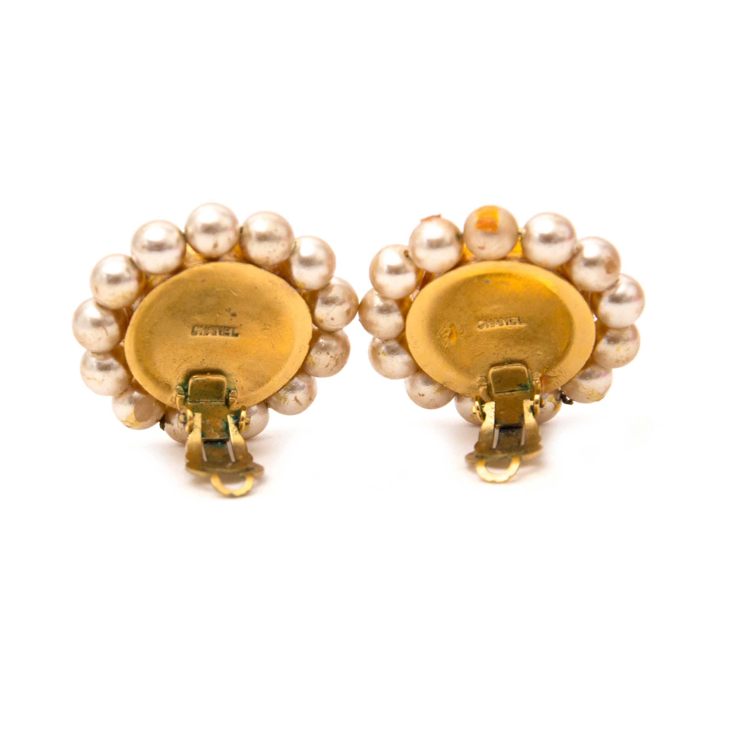 shop safe online your secondhand Chanel Gold Button Sun And Moon Clip On Earrings
