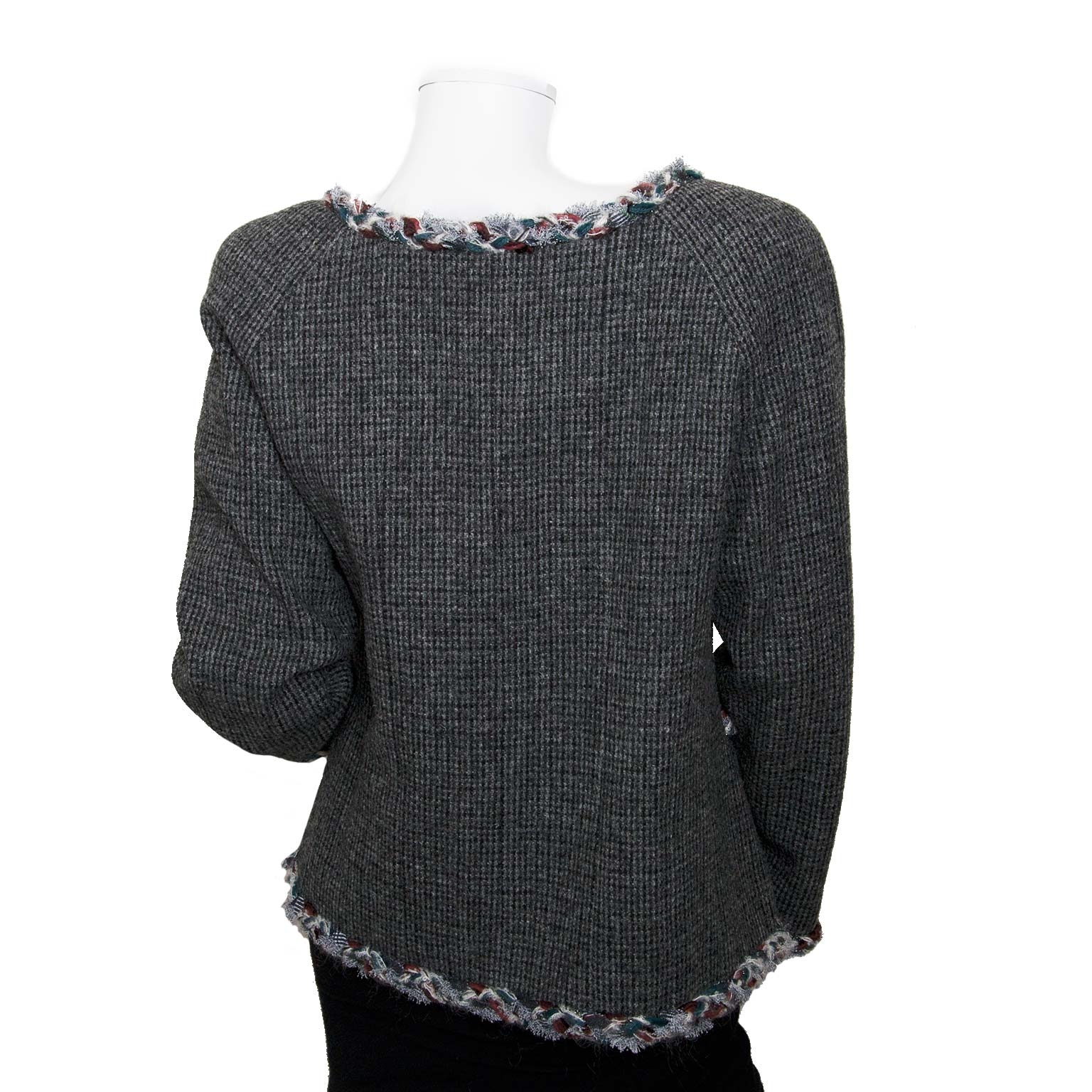 chanel grey tweed vest now for sale at labellov vintage fashion webshop belgium