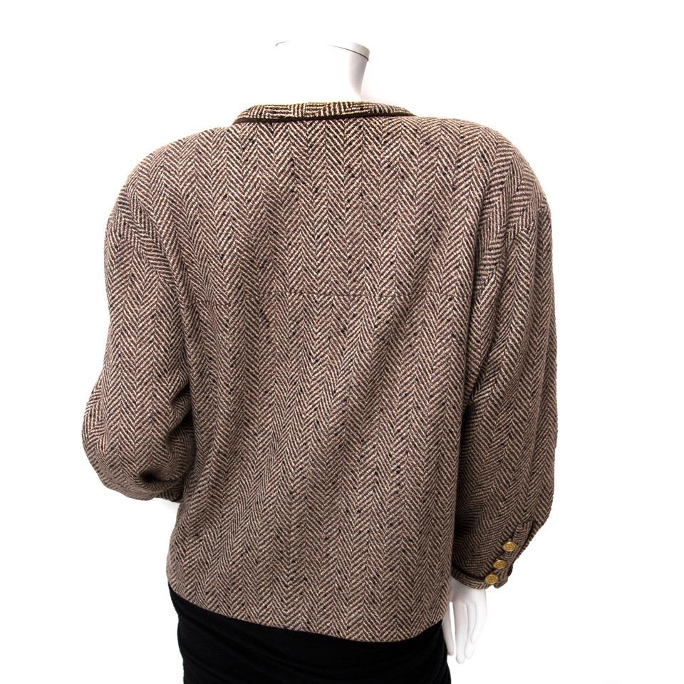acheter en linge pour le meilleur prix Chanel Tweed Brown Blazer pour le meilleur prix