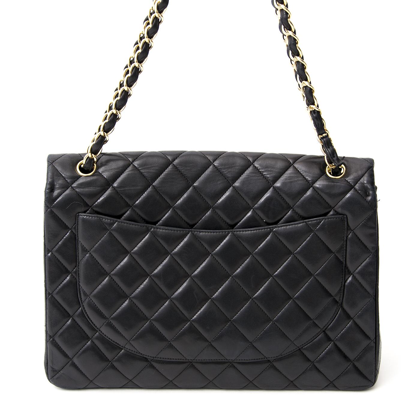 koop online aan de beste prijs Chanel Black Lambskin Jumbo Single Flap Bag 100% authentiek luxe handtassen, antwerpen