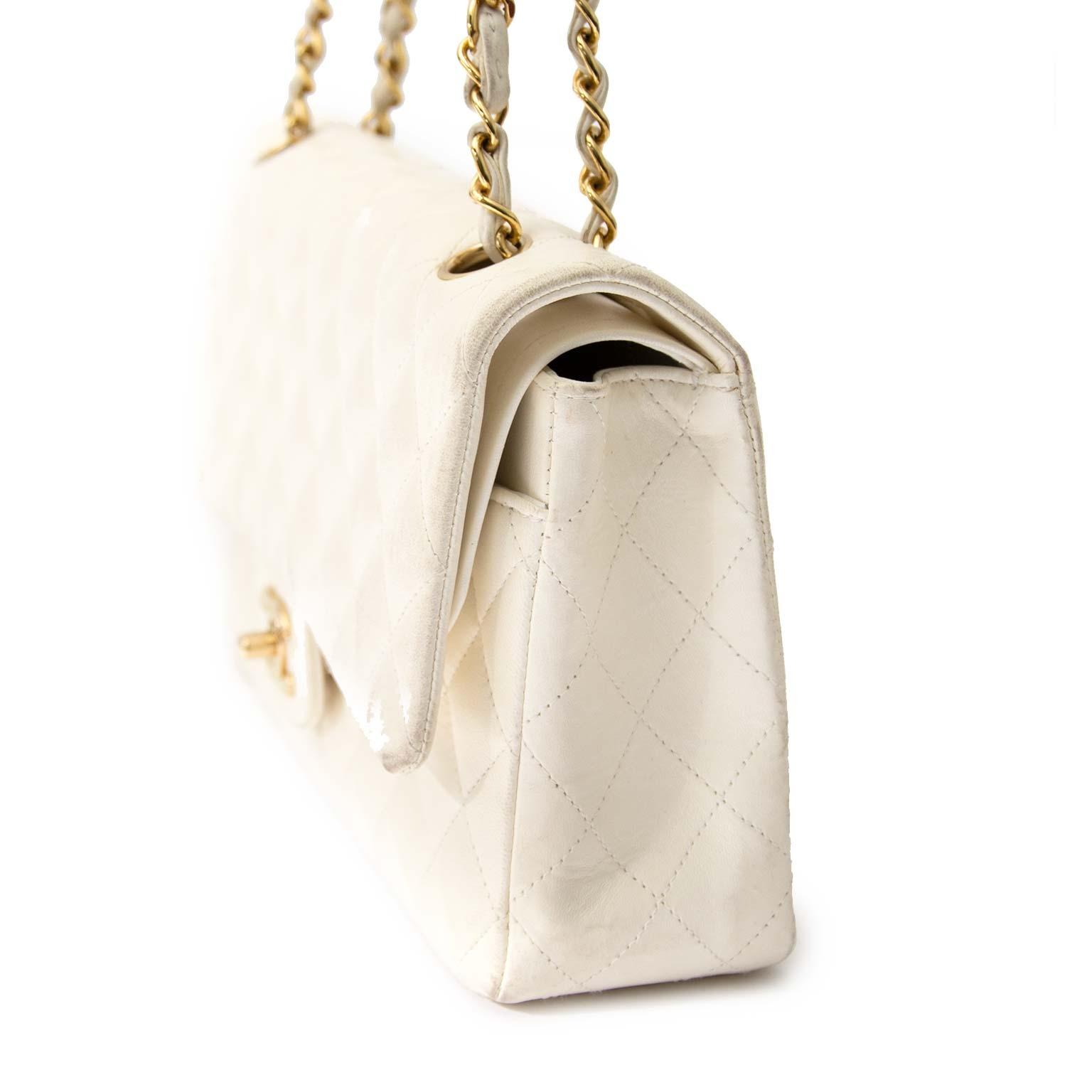 Chanel White Lambskin Medium Classic Double Flap Bag shop online Chanel White Lambskin Medium Classic Double Flap Bag