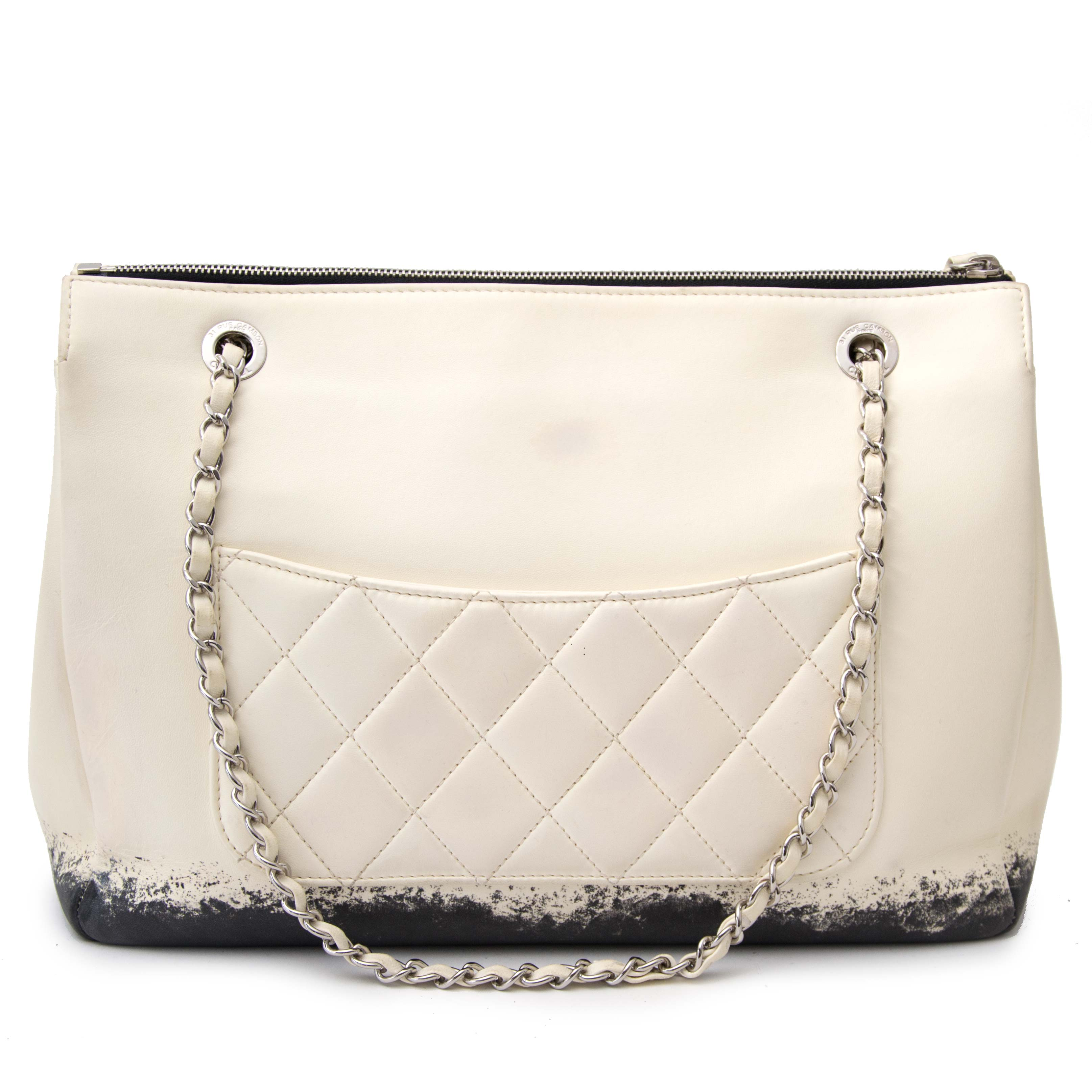 Exclusive 2011 Chanel Cream Paint Splatter Flap Bag
