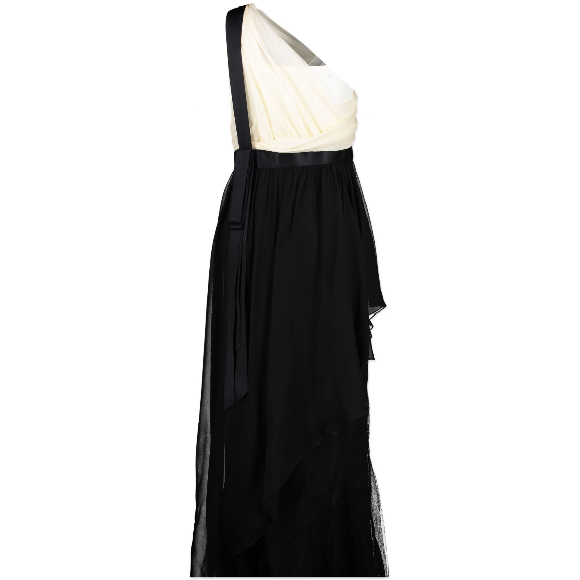 Chanel Black and White One Shoulder Silk Dress - Size 36