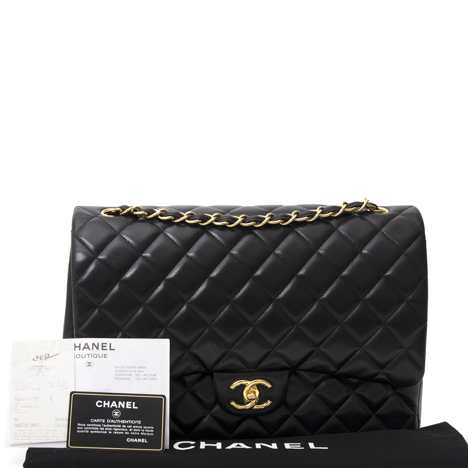 ... acheter en ligne seconde main sac a epaule Chanel Black Lambskin Jumbo  Double Flap Bag GHW f07b3e05d36