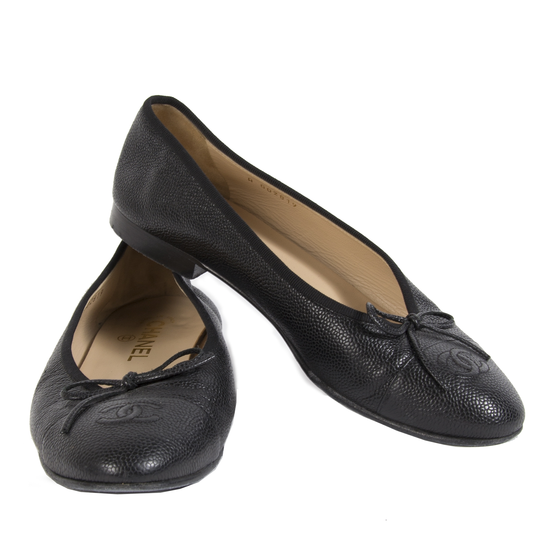 Chanel Caviar Leather Ballet Flats Black - size 39