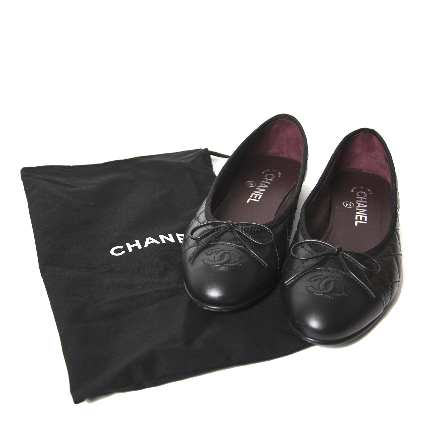 chanel black quilted leather cambon ballerinas now for sale at labellov vintage fashion webshop belgium