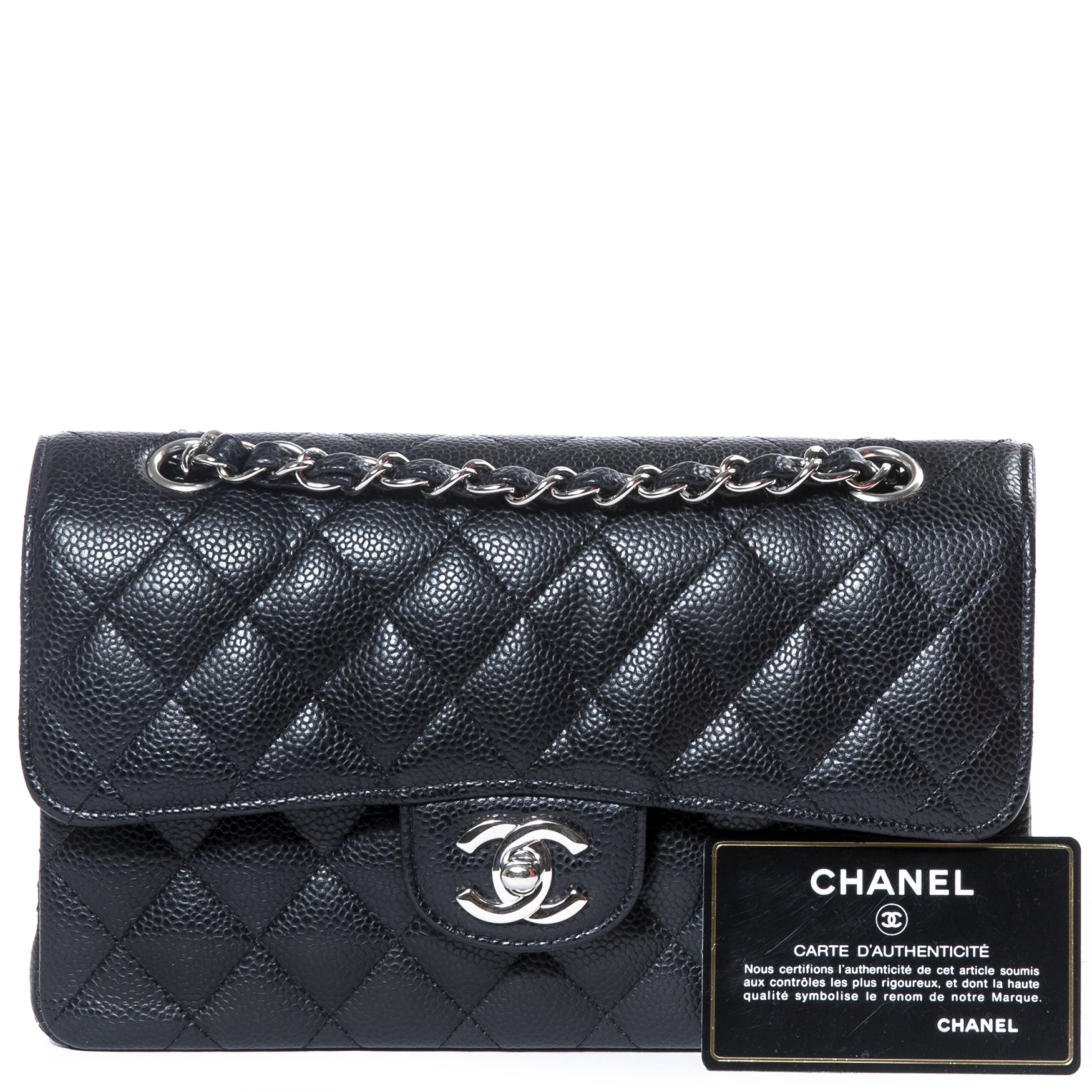 a04dde9169 Sold. Chanel Black Caviar Leather Small Classic Flap Bag PHW · Chanel