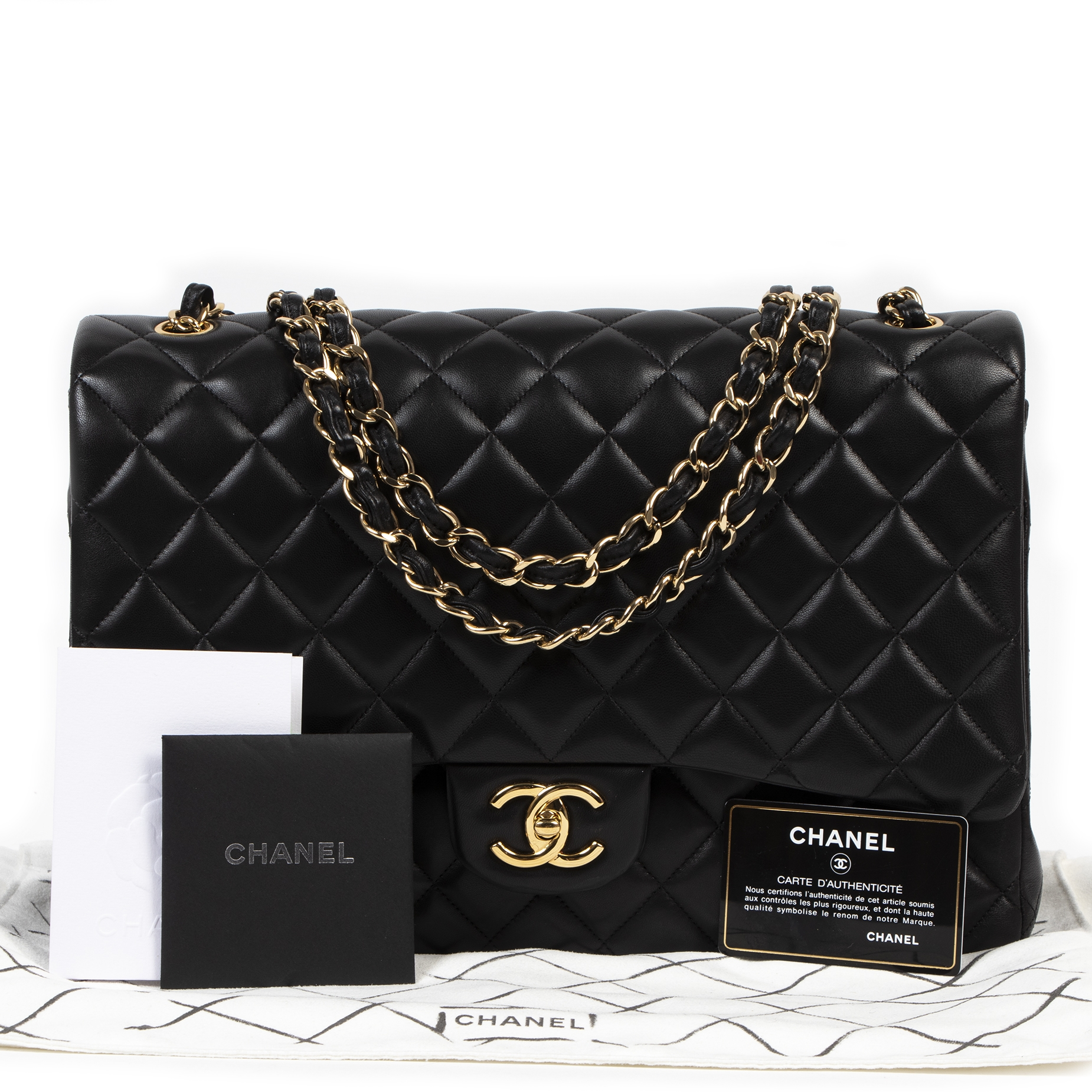 skip the waiting list Chanel Black Lambskin Maxi Classic Flap Bag