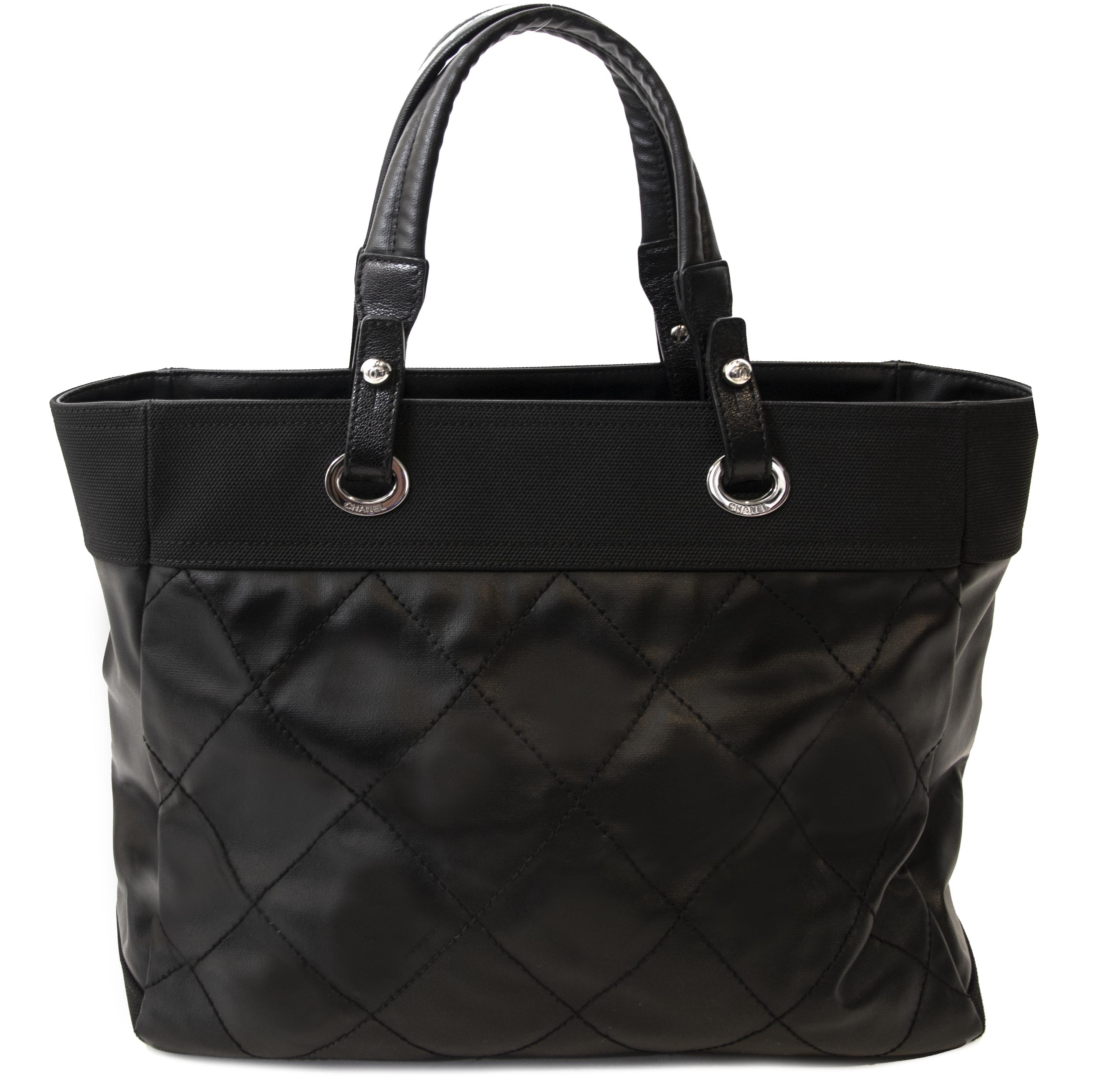 Chanel Black Quilted Coated Paris Biarritz GST Bag at the right price at Labellov Vintage Webshop.