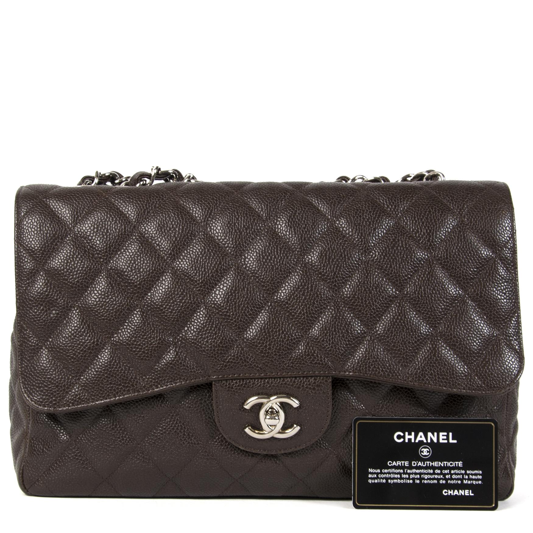 Chanel Dark Brown Jumbo Caviar Classic Flap Bag  online tegen de beste prijs