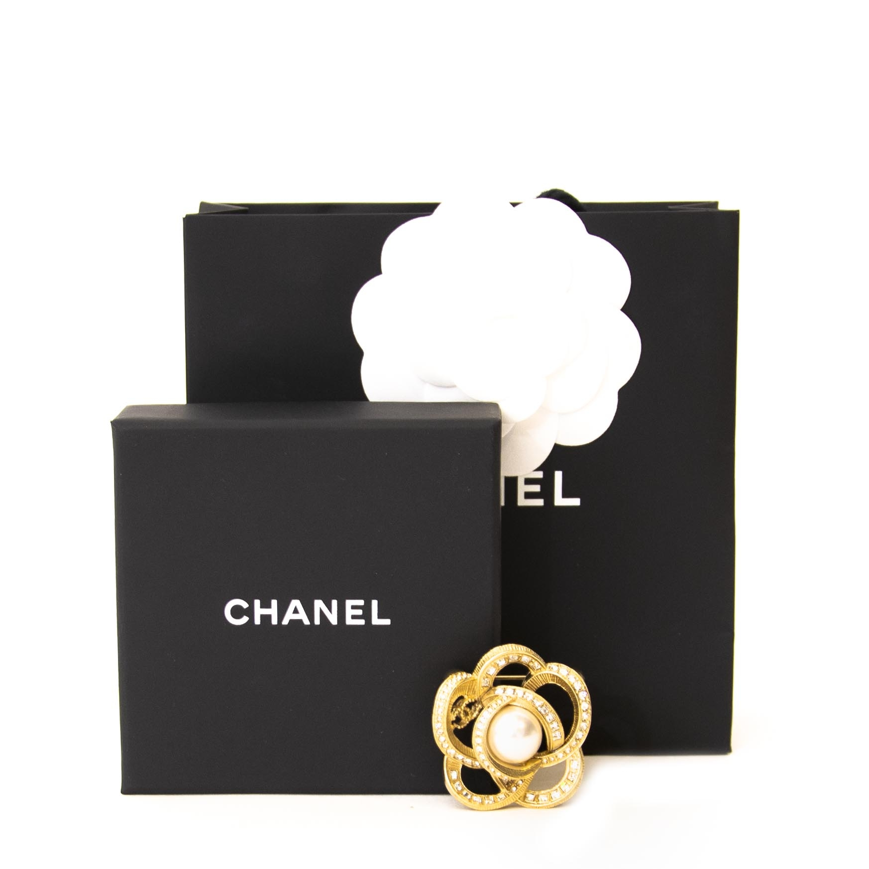 Chanel Camelia Gold Pearl Brooch