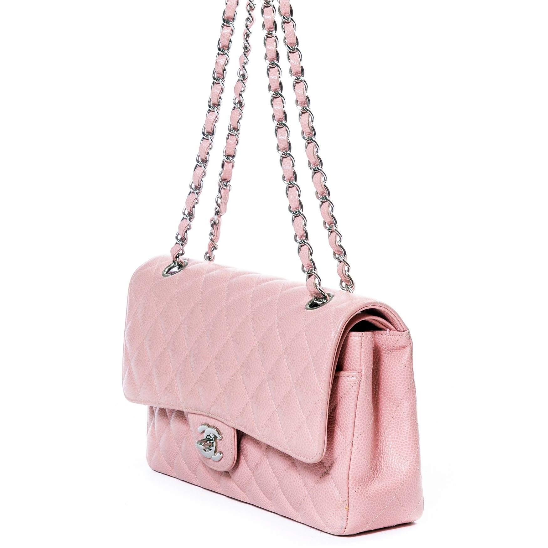 d63e545bc99459 Chanel Pink Quilted Caviar Medium Classic Double Flap Bag · Chanel