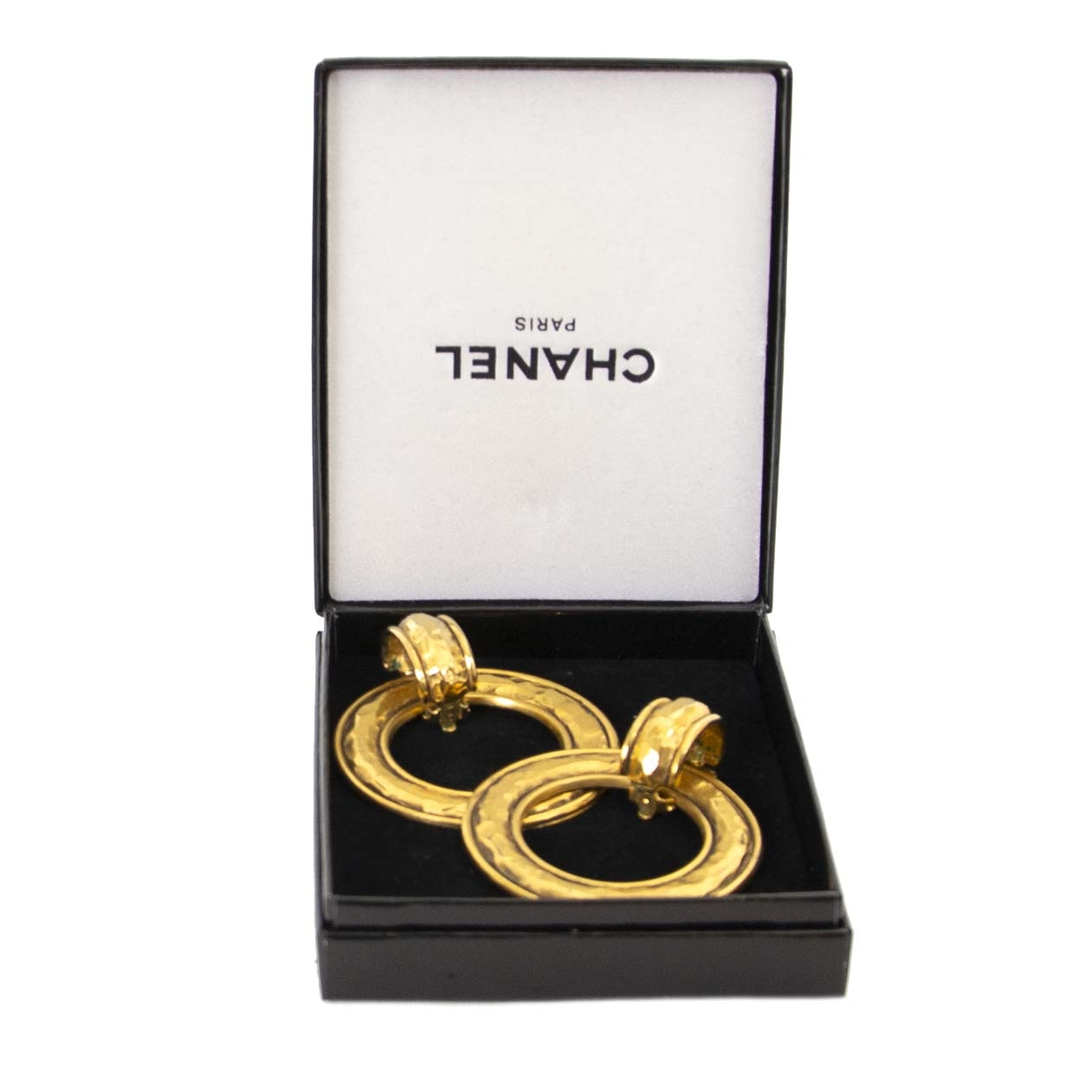 Authentique vintage Chanel Golden Hoop Earrings achète en ligne webshop LabelLOV