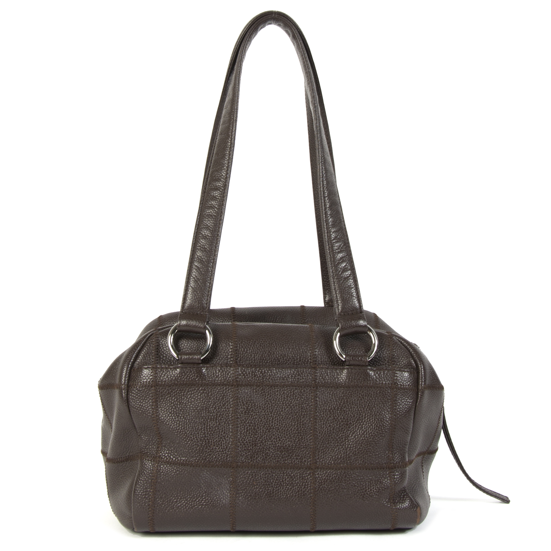 Chanel Brown Coco Bar Caviar Leather Shoulder Bag