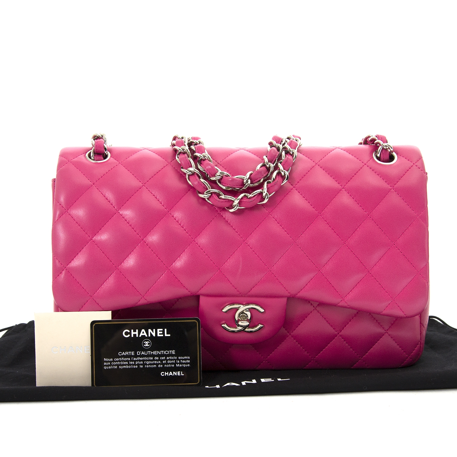 100% authentic Chanel Bubblegum Pink Jumbo Double Classic Flap Bag PHW available for the best price of 2018 at Labellov