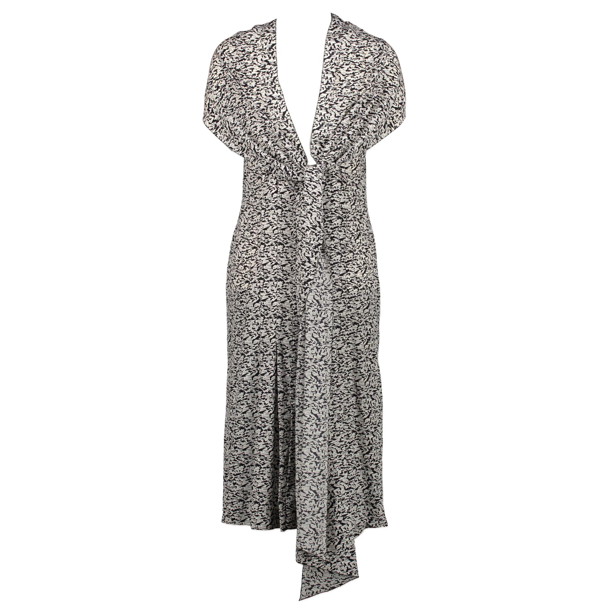 Chanel Silk Black & White Geometric Print Dress - Size 36 te koop aan de beste prijs bij Labellov tweedehands luxe in Antwerpen