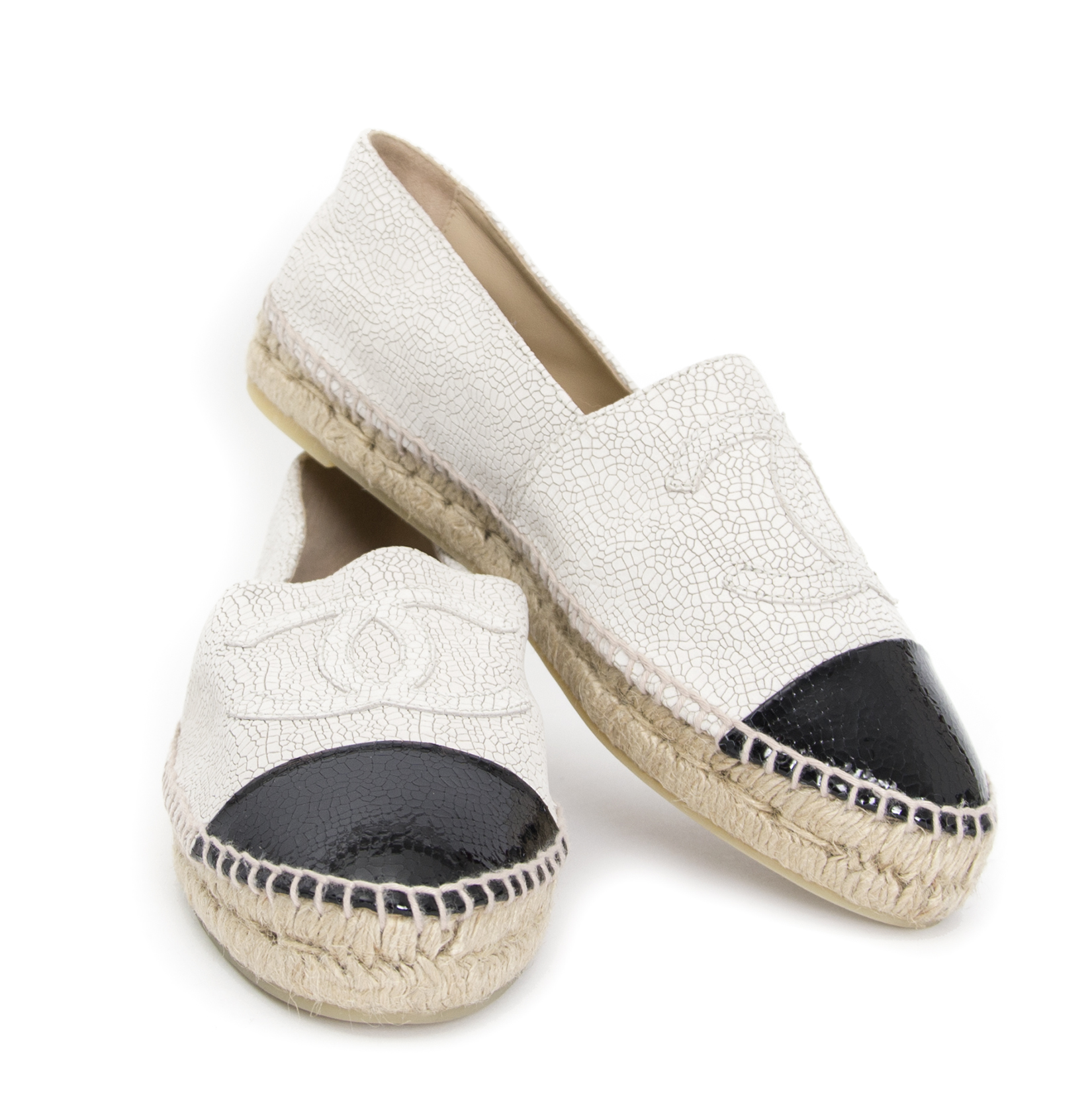 looking for a secondhand Chanel Crackled Leather Beige Black Espadrilles - size 41