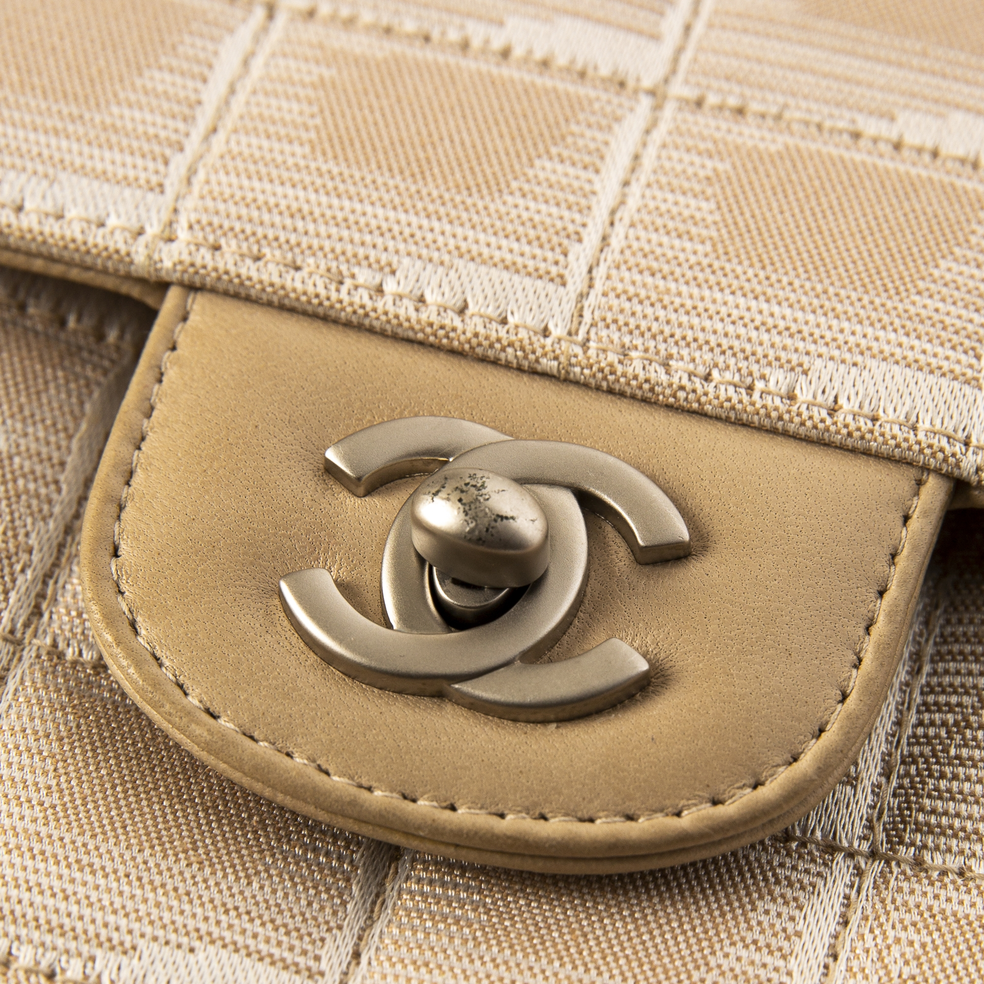 Chanel Beige Canvas Travel East West Flap Bag