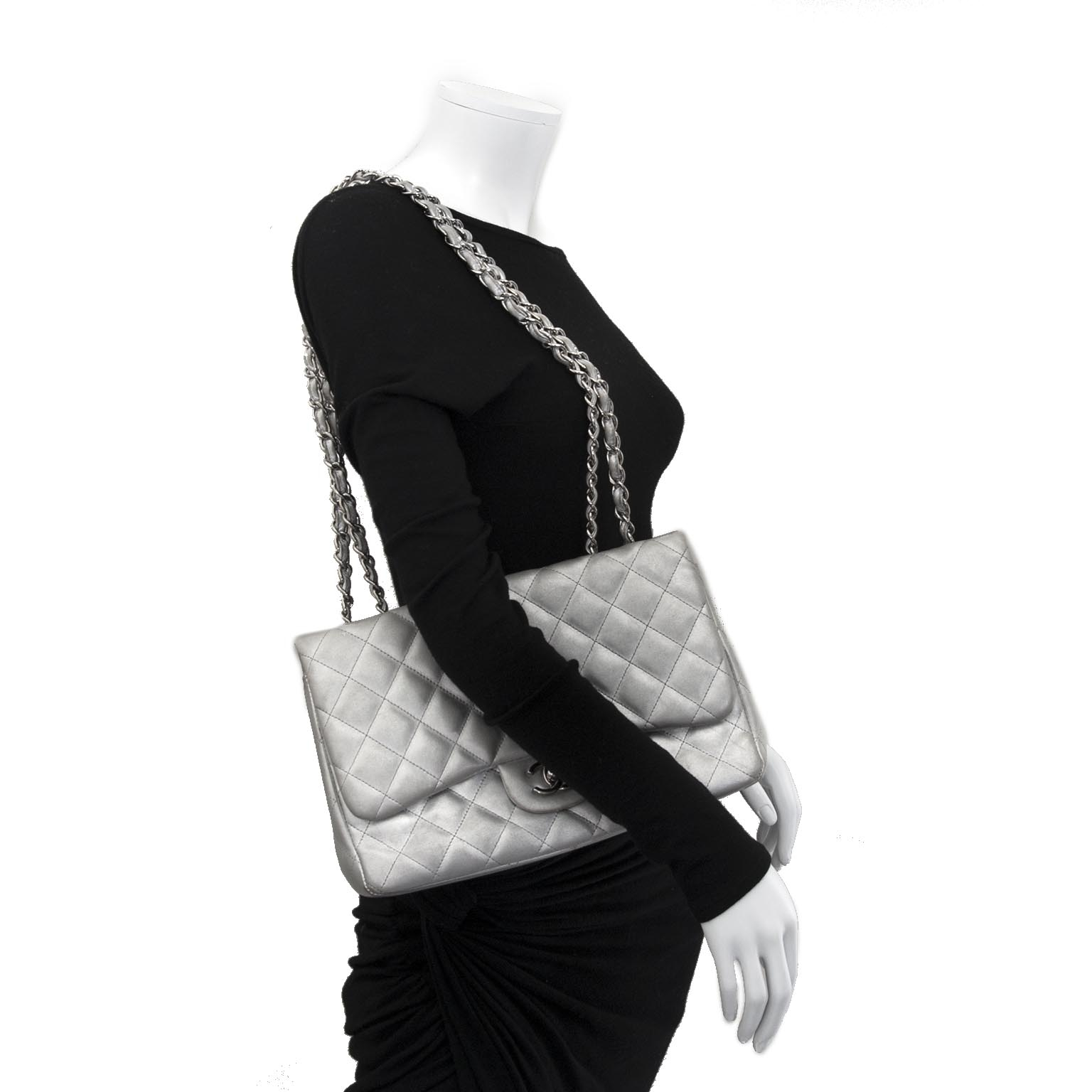Chanel Jumbo Silver Quilted Metallic Lambskin Classic Flap Bag