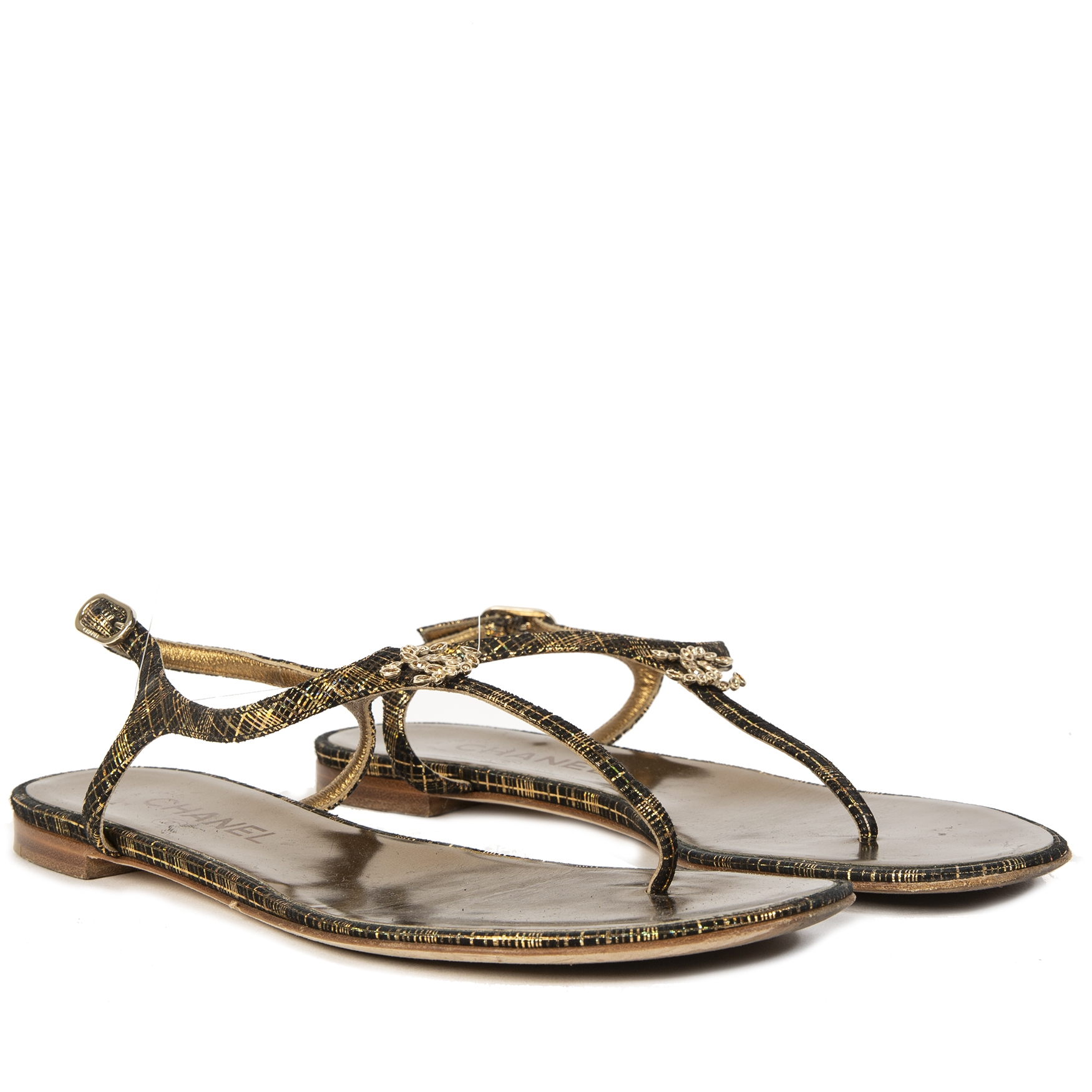 Chanel Brown Gold T-Strap Sandals With CC Logo Size 39