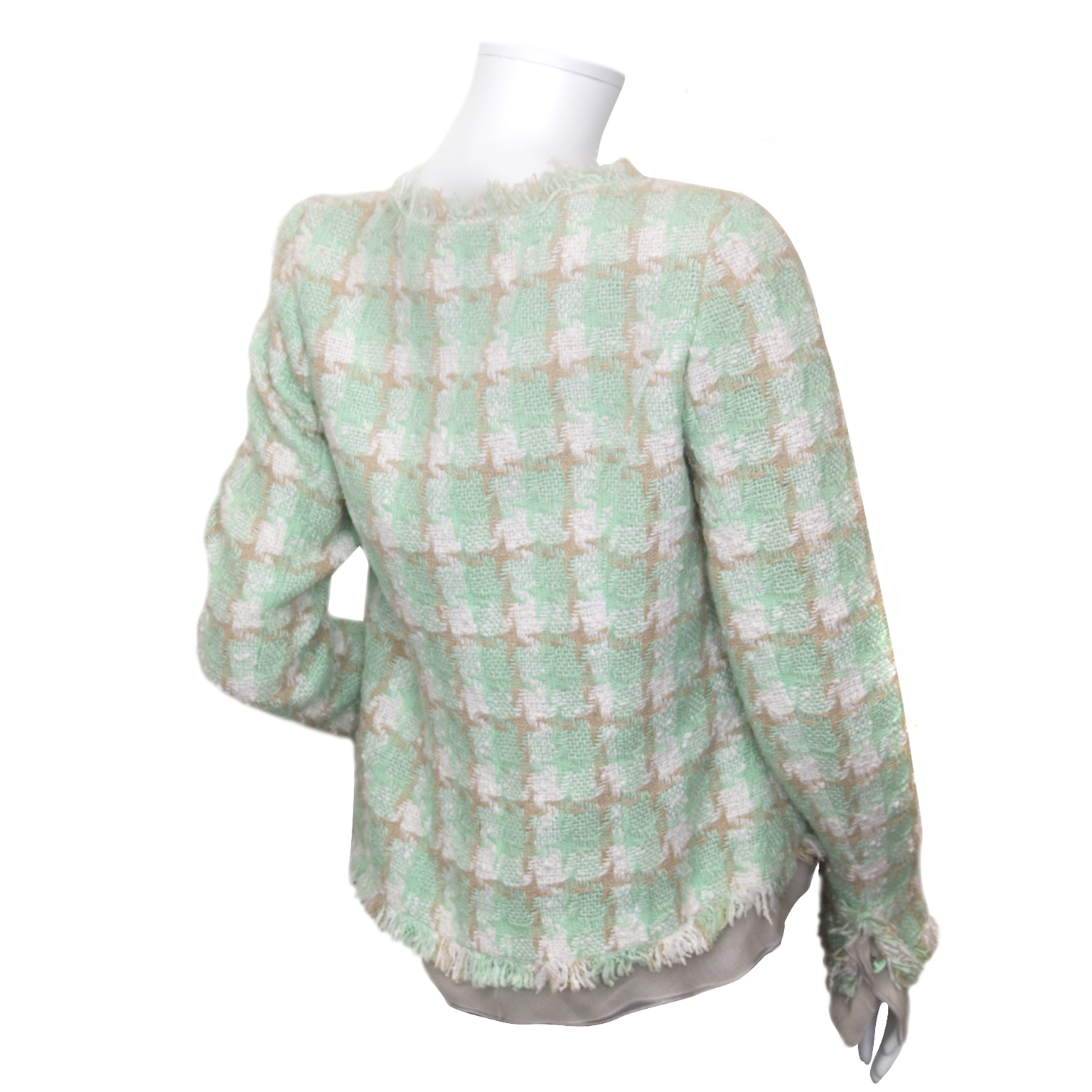 chanel green tweed blazer now for sale at labellov vintage fashion webshop belgium