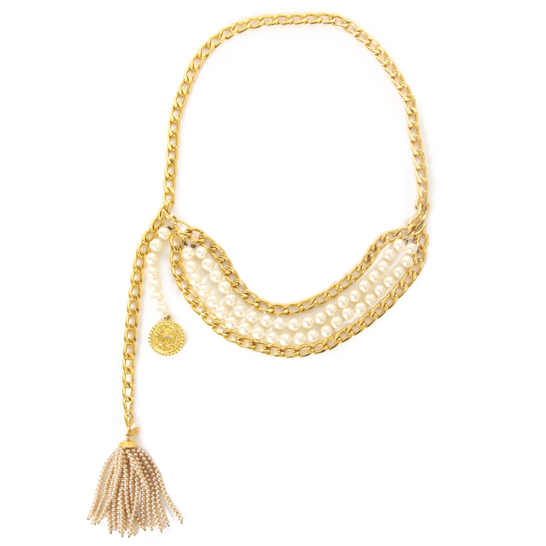 Rare Vintage Chanel Pearl Tassel Chain Belt now for sale at labellov vintage fashion webshop belgium