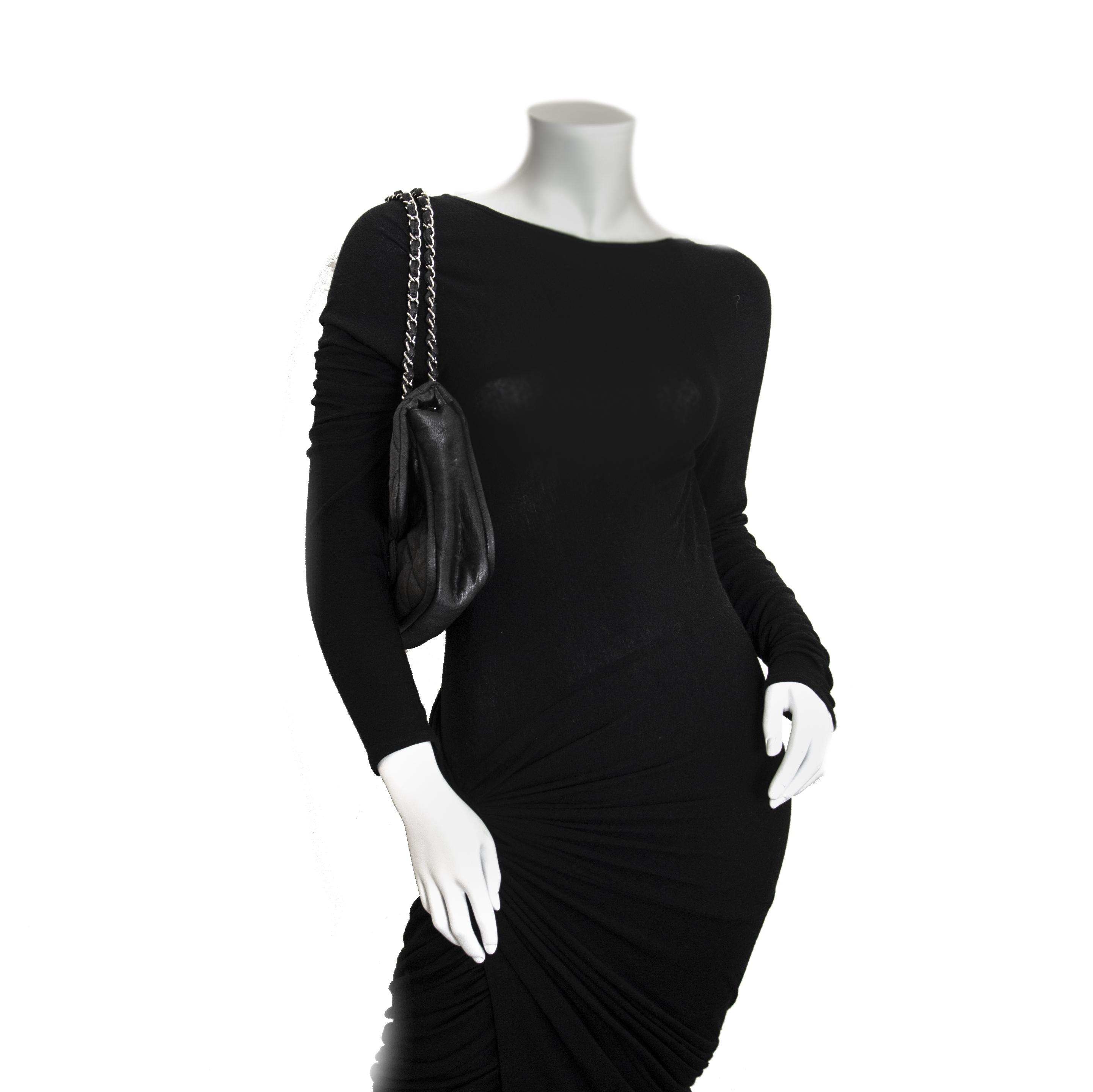 f8a4da2b0f4 ... Chanel Black Glitter Jersey Flap Bag now for sale at labellov vintage  fashion webshop belgium