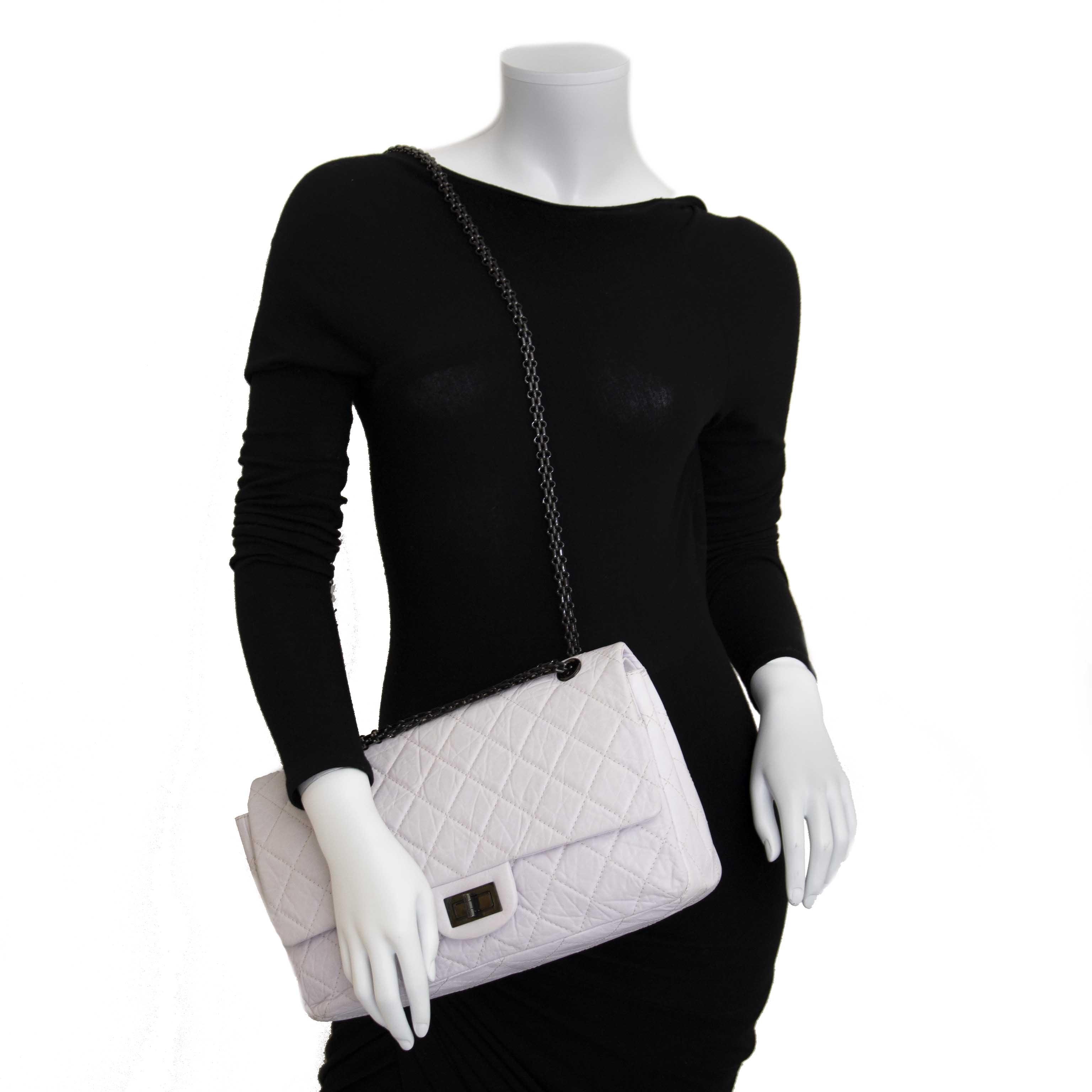 Chanel White Aged Calfskin 2.55 Reissue 227 Flapbag