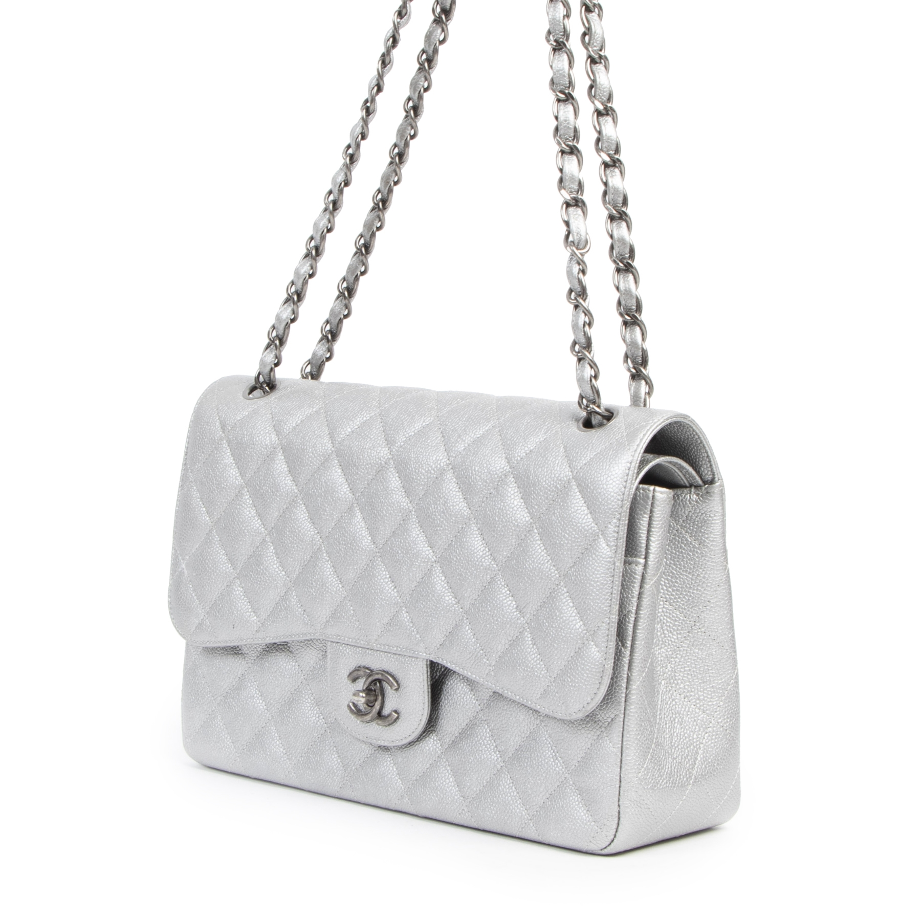 Chanel Silver Jumbo Classic Flap Bag