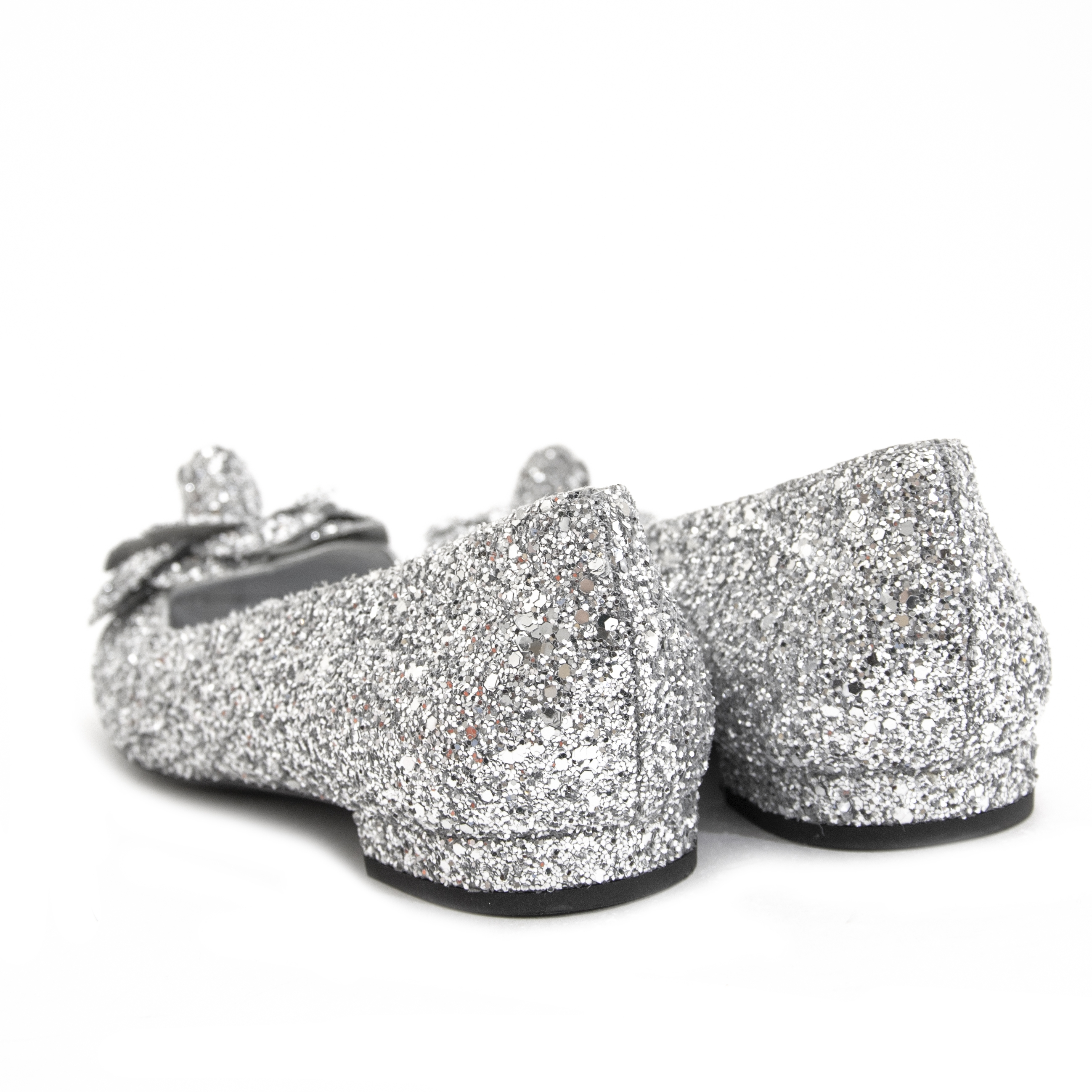 Chanel Silver Glitter Ballerina Flats - size 38 for sale