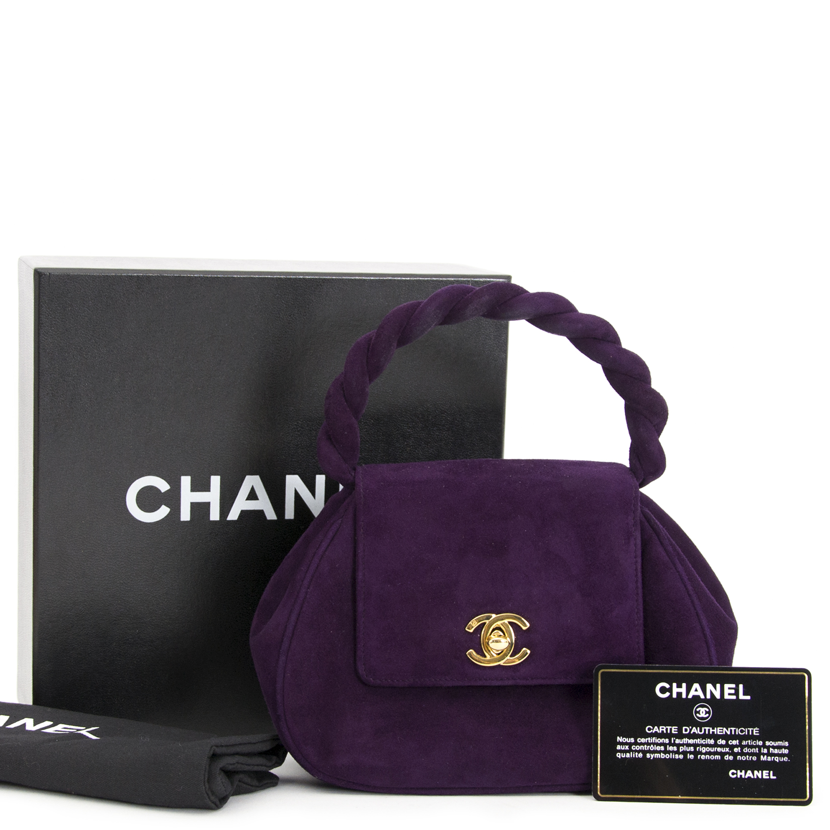 looking for a secondhand Chanel Vintage Purple Suede Mini Bag