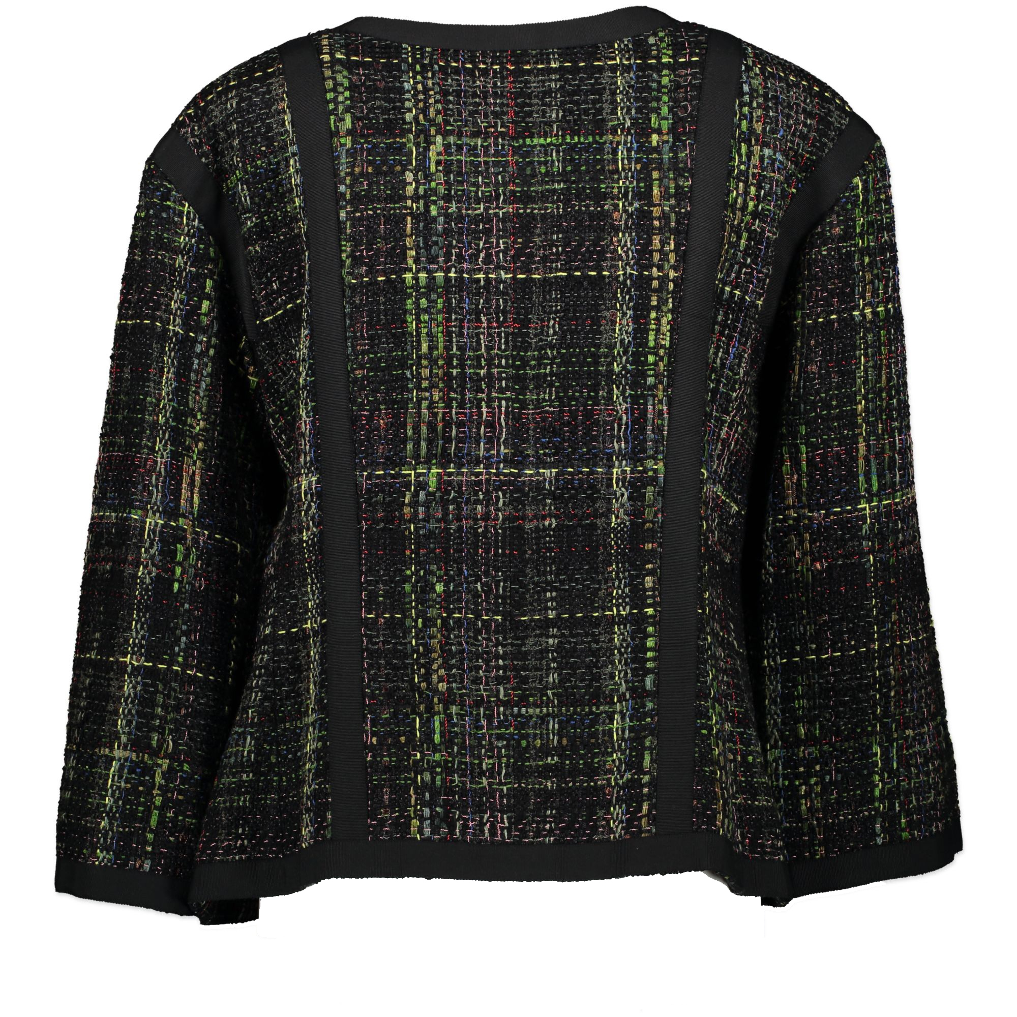 We buy and sell your authentic Chanel Black Green Tweed Jacket - Size FR 46
