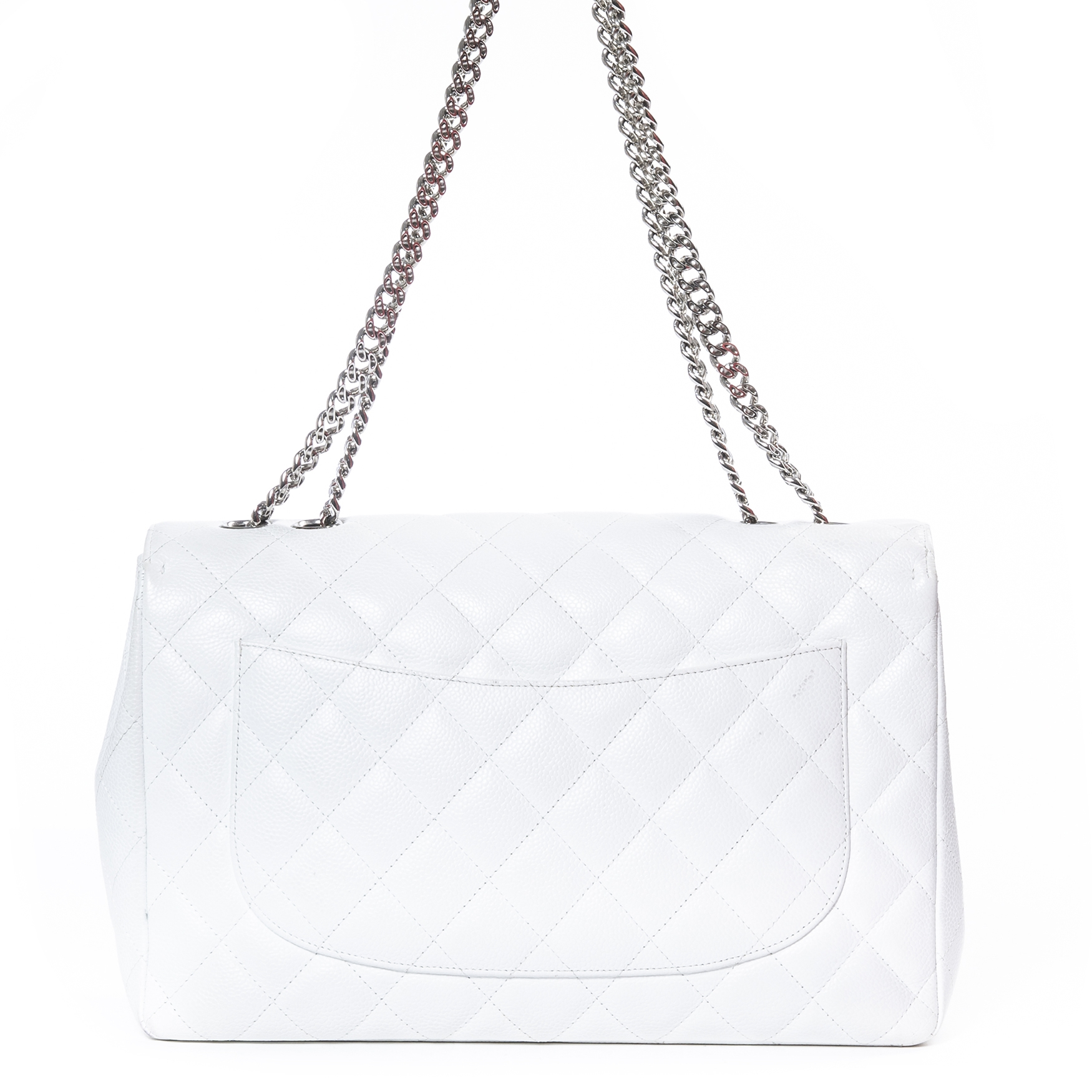 Chanel White Jumbo Caviar Leather Bag