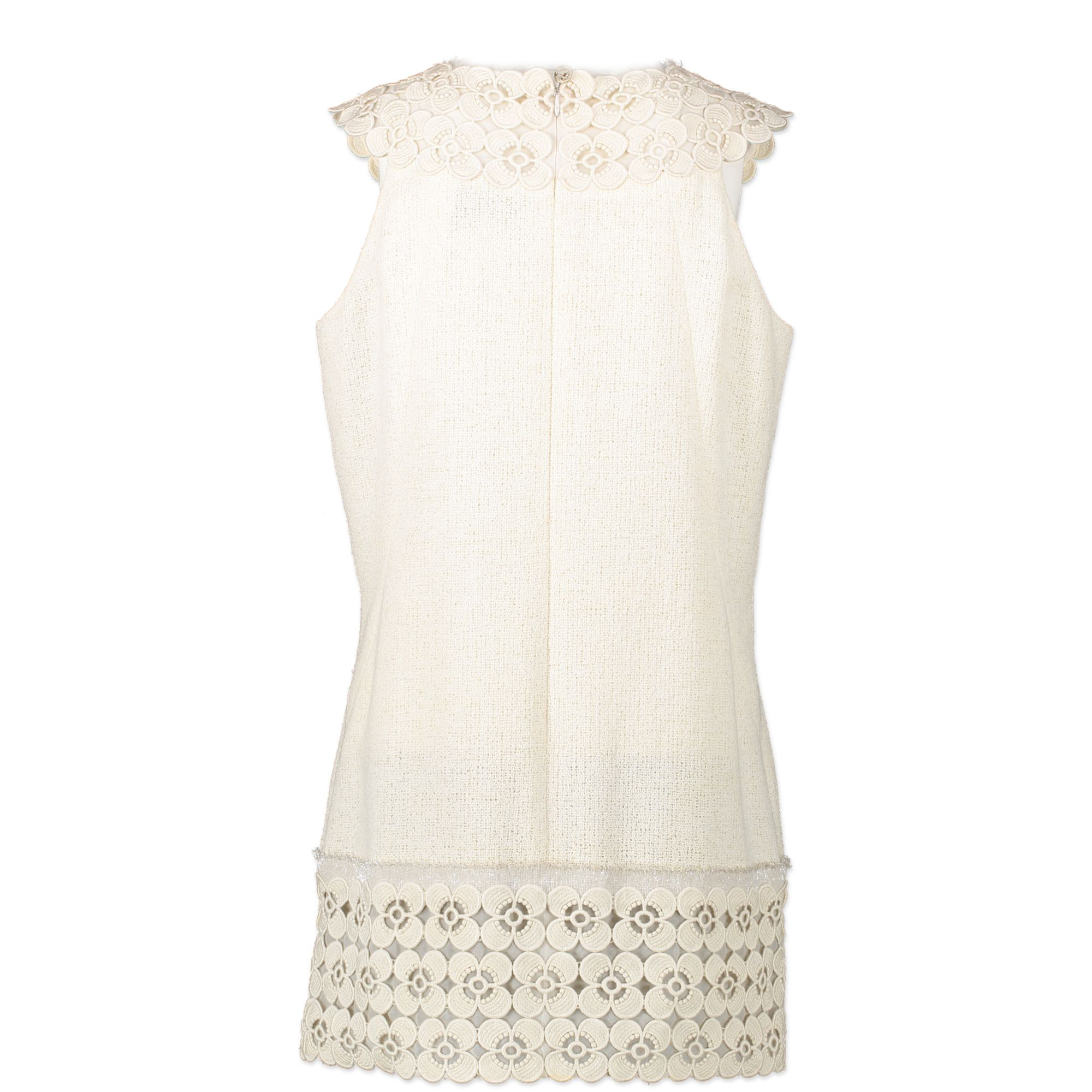Authentic second-hand vintage Chanel White Tweed Dress buy online webshop LabelLOV