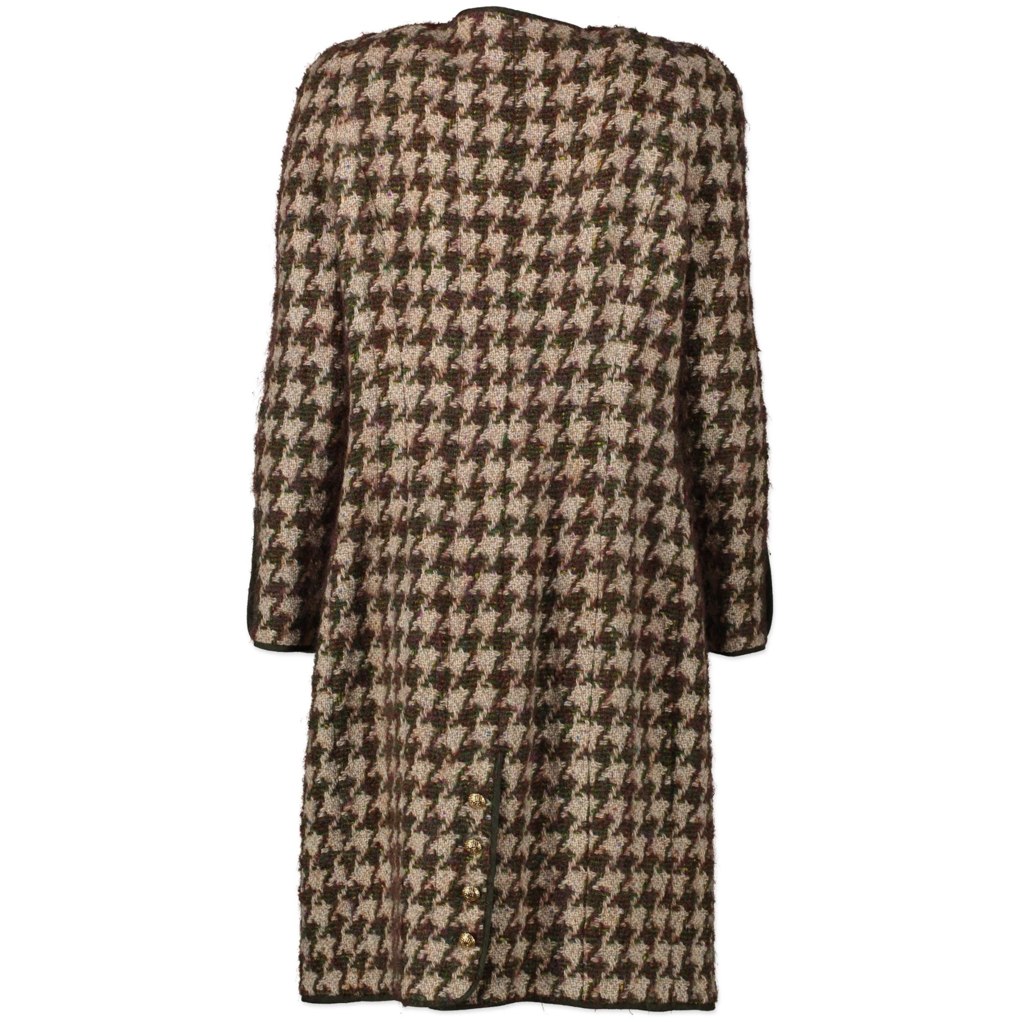 Chanel Houndstooth Multicolor Tweed Long Blazer